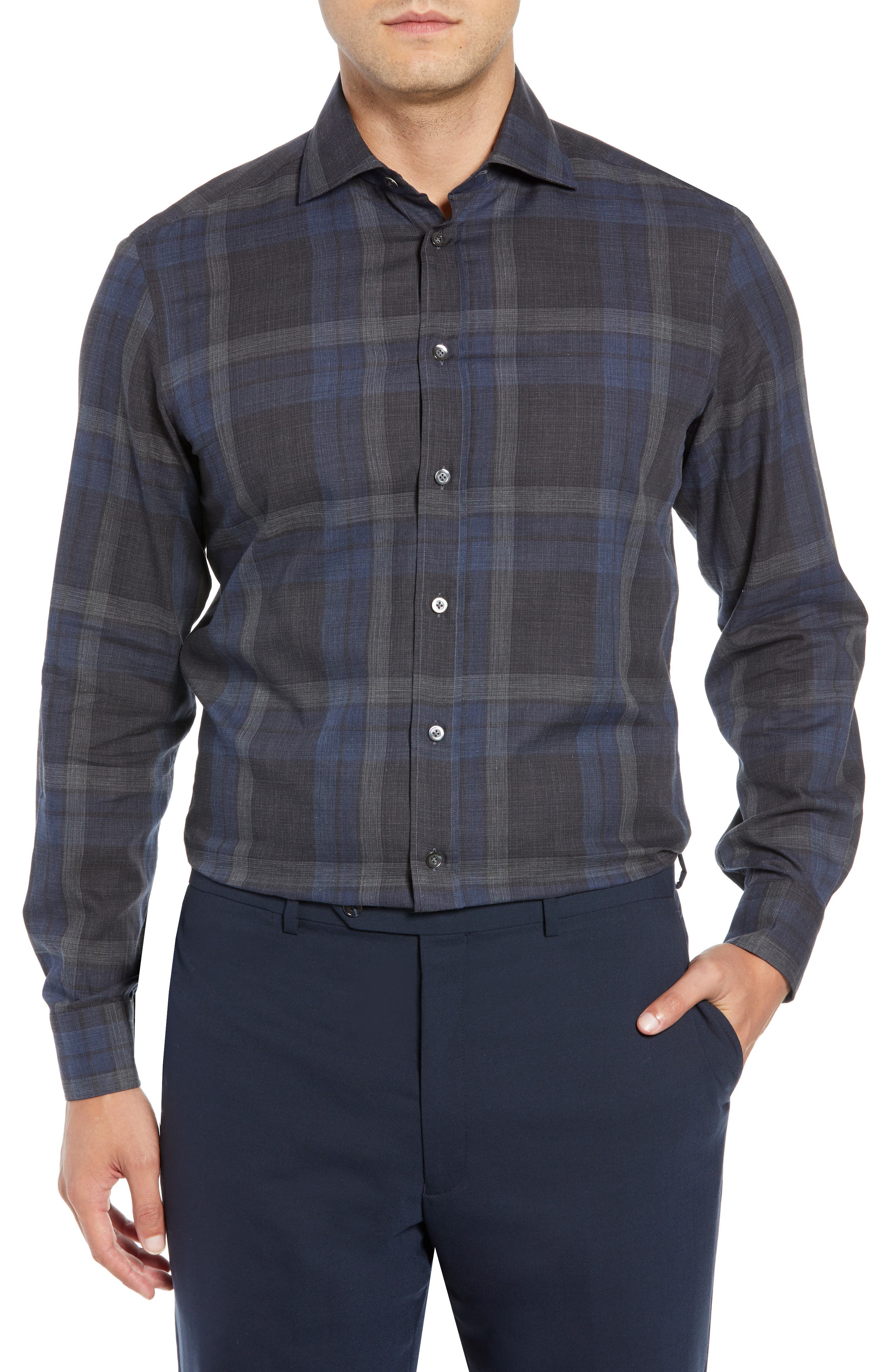 LUCIANO BARBERA Classic Fit Plaid Sport Shirt in Blue