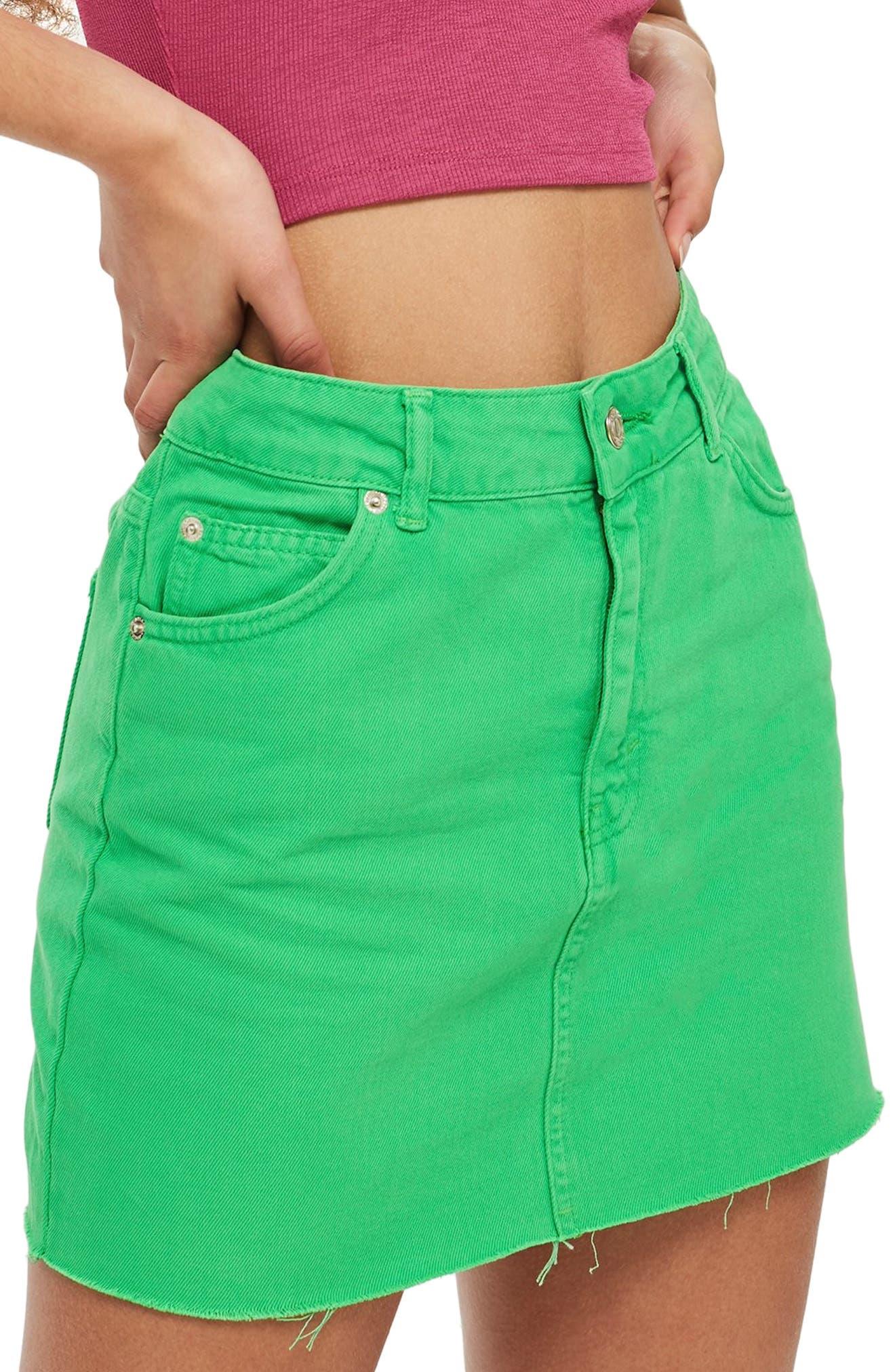 MOTO High Waist Denim Skirt,                         Main,                         color, 320