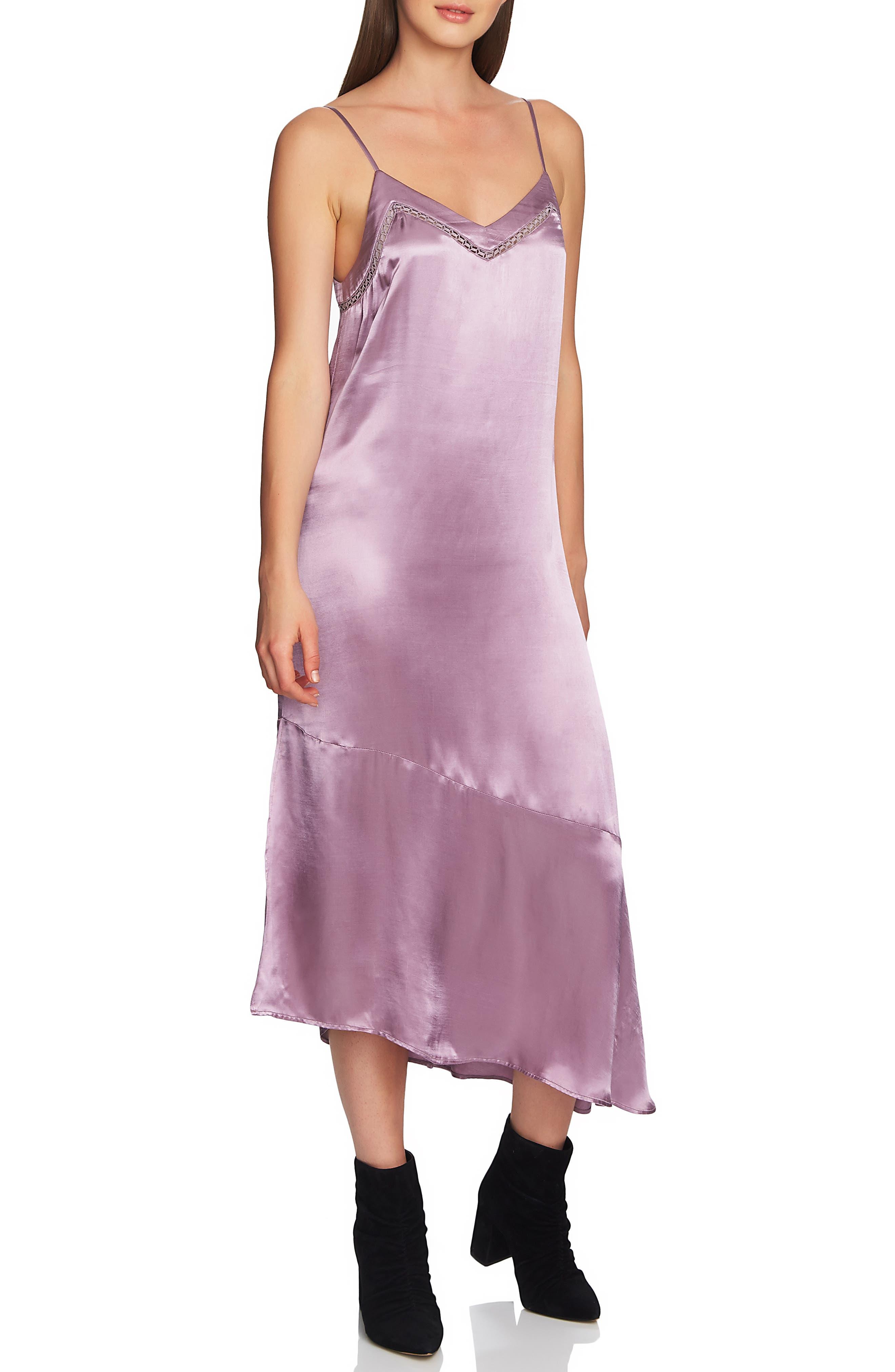 1.state Soft Satin Midi Slipdress, Purple