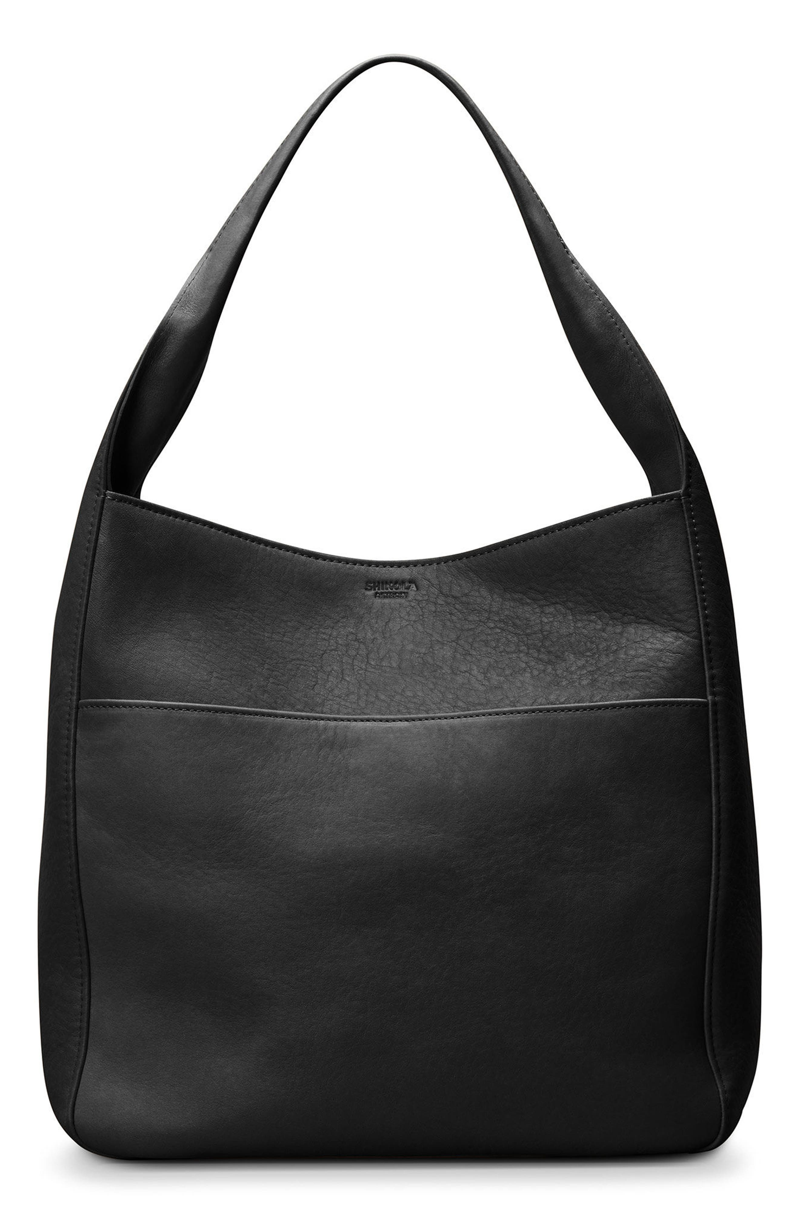 Cass Dearborn Leather Hobo,                         Main,                         color, BLACK