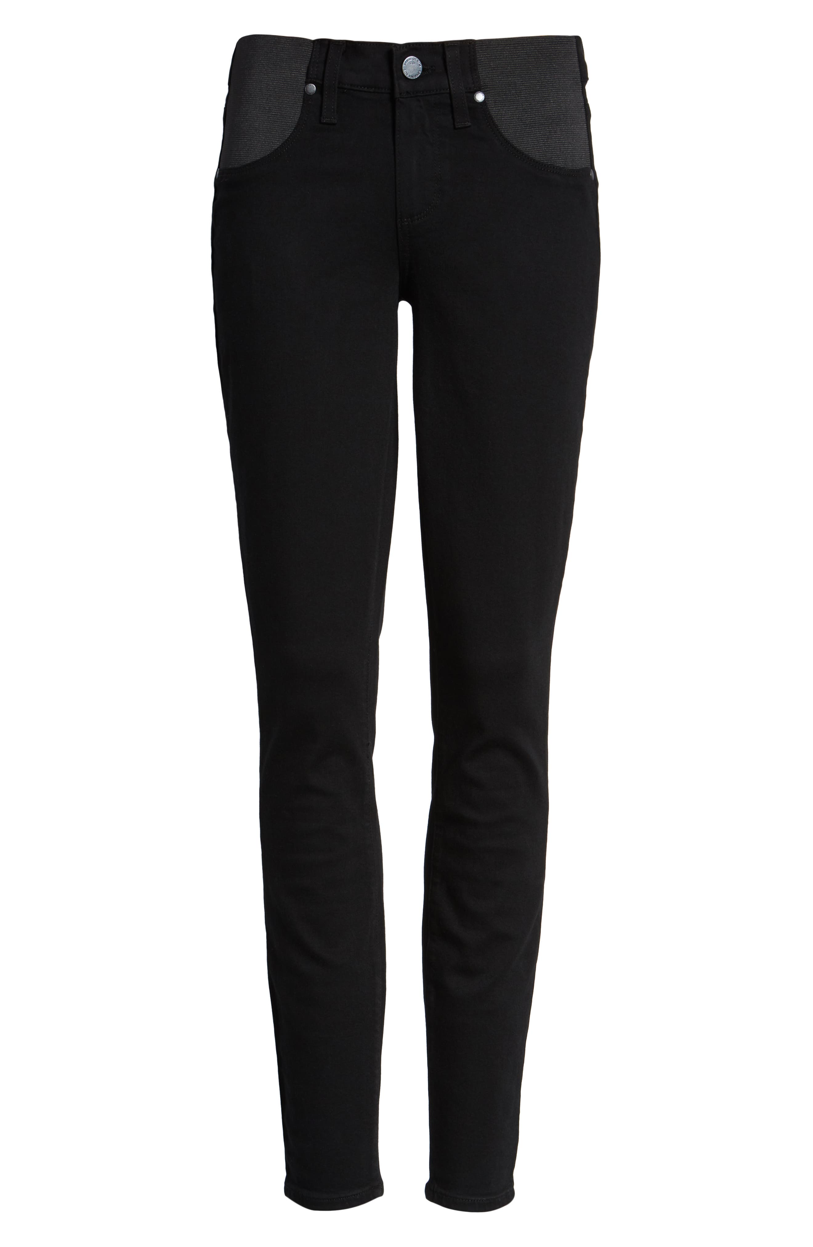 'Transcend - Verdugo Ultra Skinny Maternity Jeans,                             Alternate thumbnail 6, color,                             BLACK SHADOW