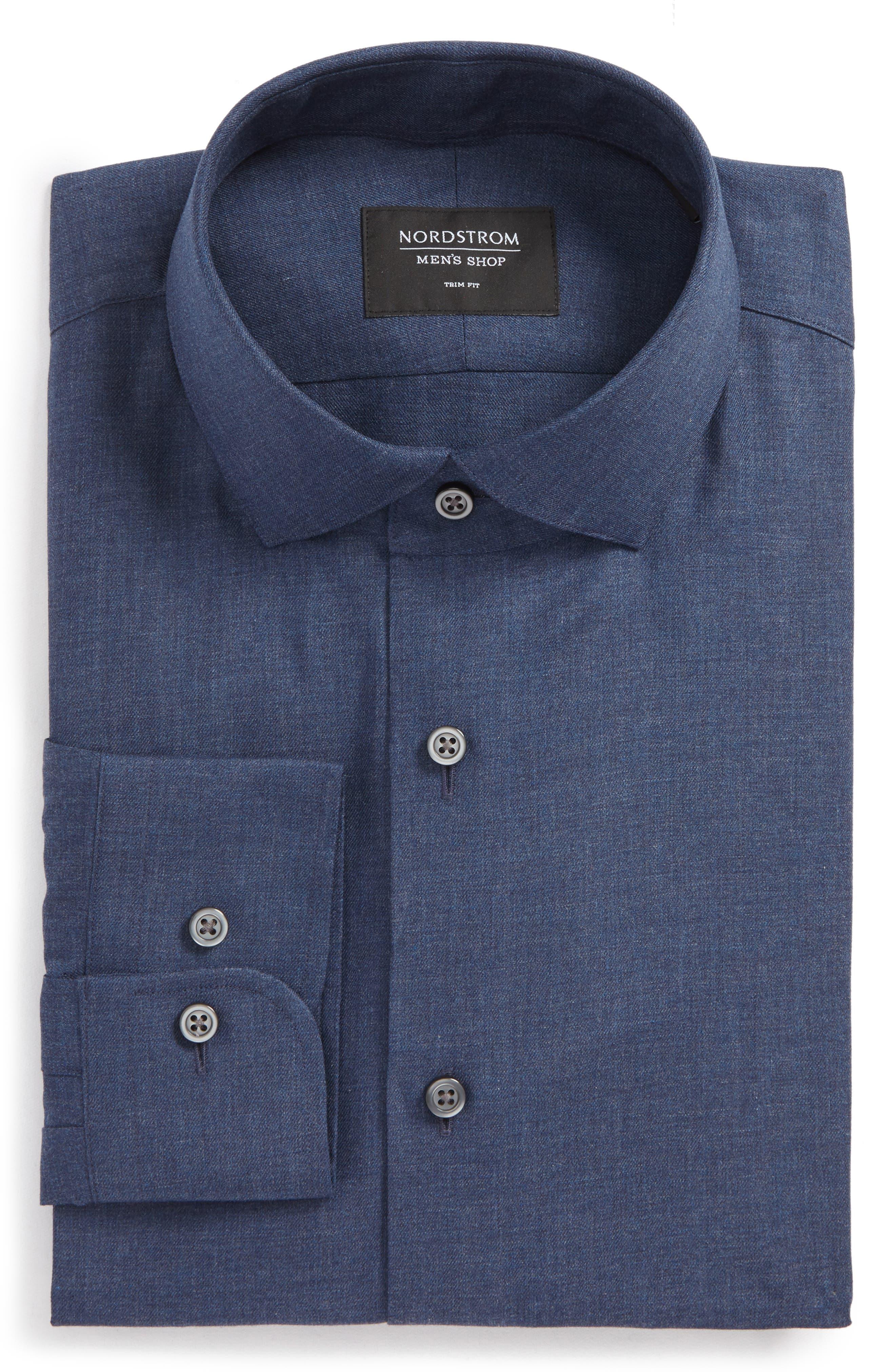Trim Fit Solid Dress Shirt,                             Main thumbnail 2, color,
