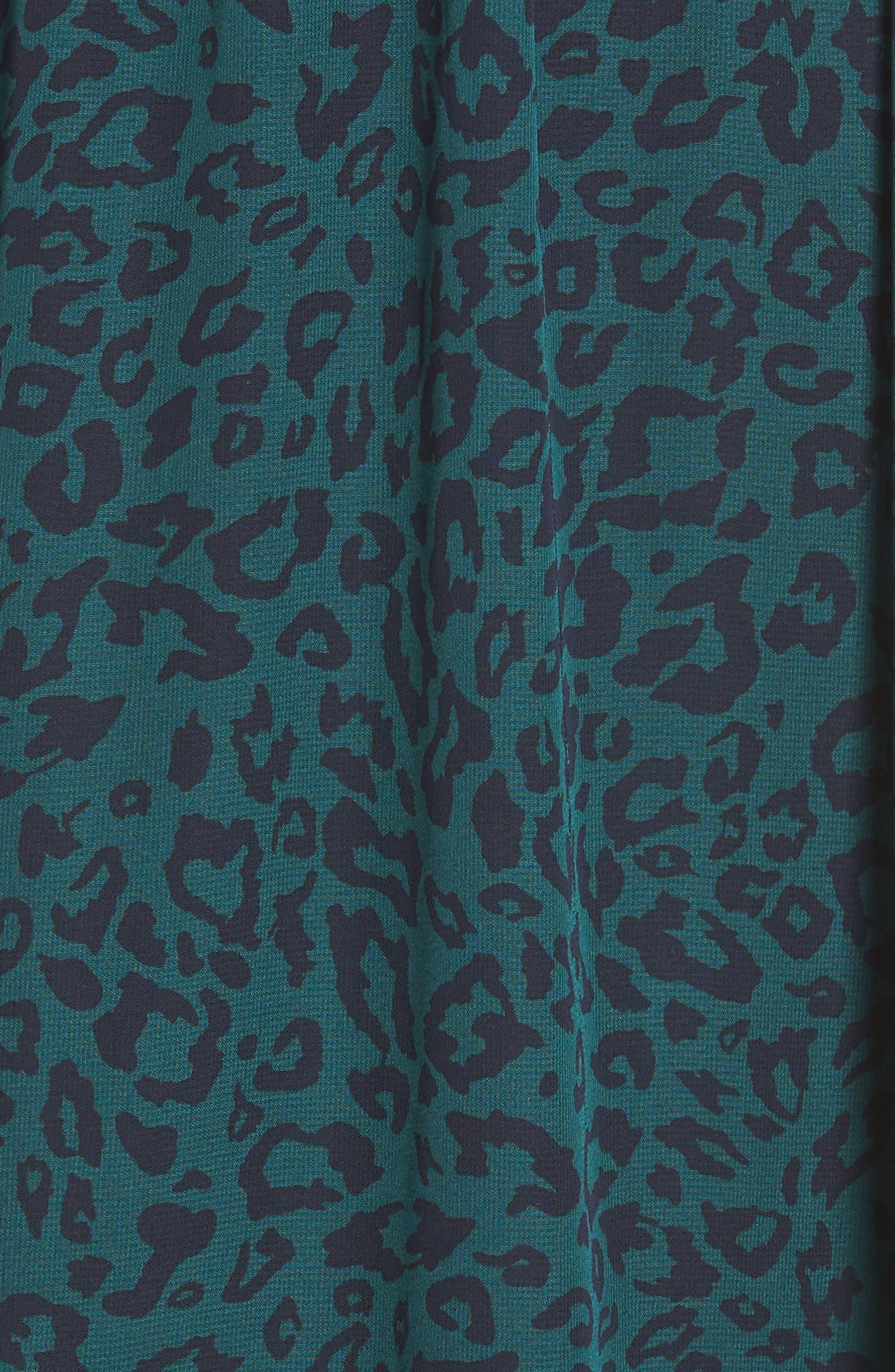 Leopard Print Smocked Dress,                             Alternate thumbnail 6, color,                             GREEN LEOPARD