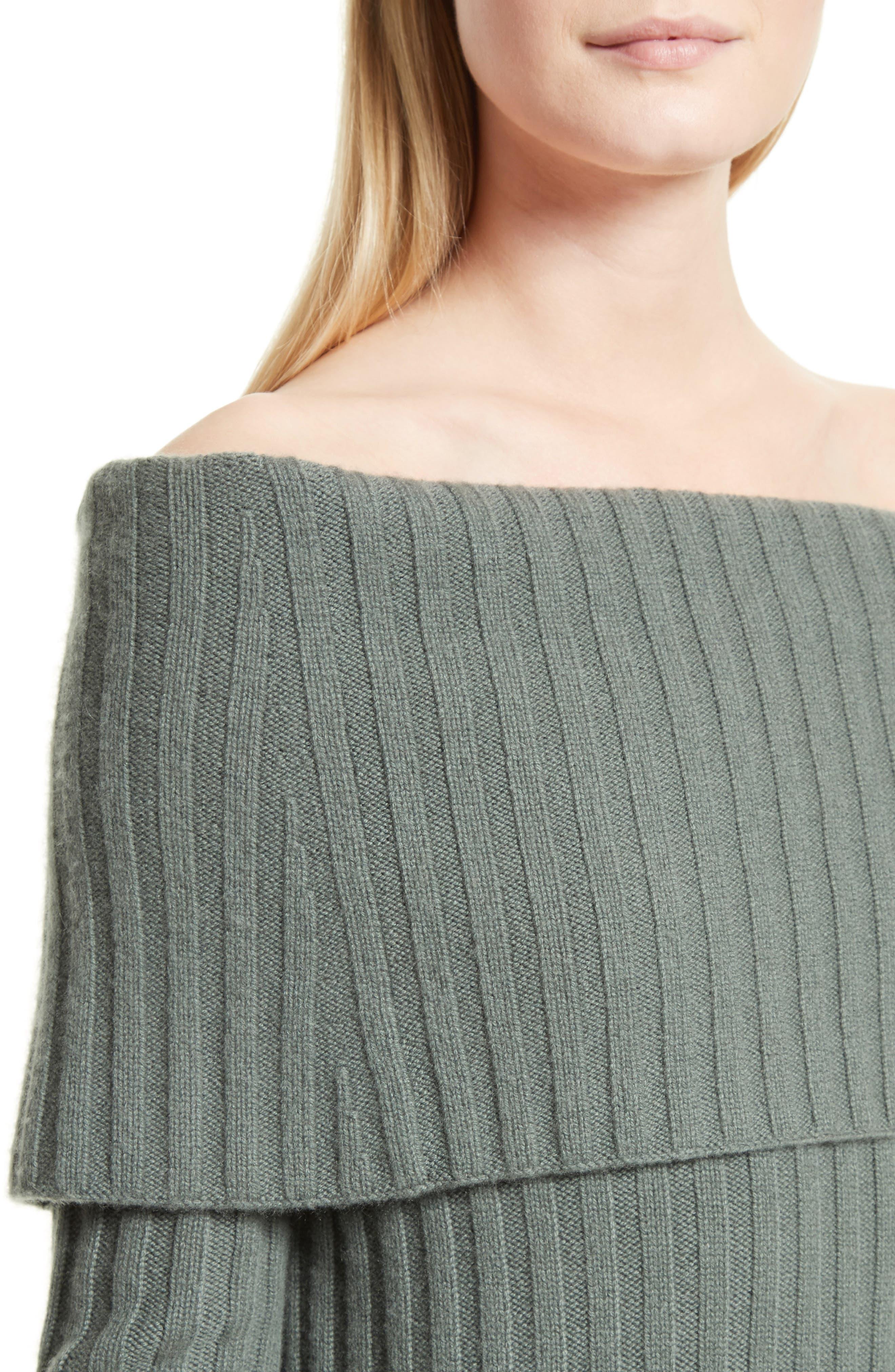 Off the Shoulder Cashmere Sweater,                             Alternate thumbnail 4, color,                             376