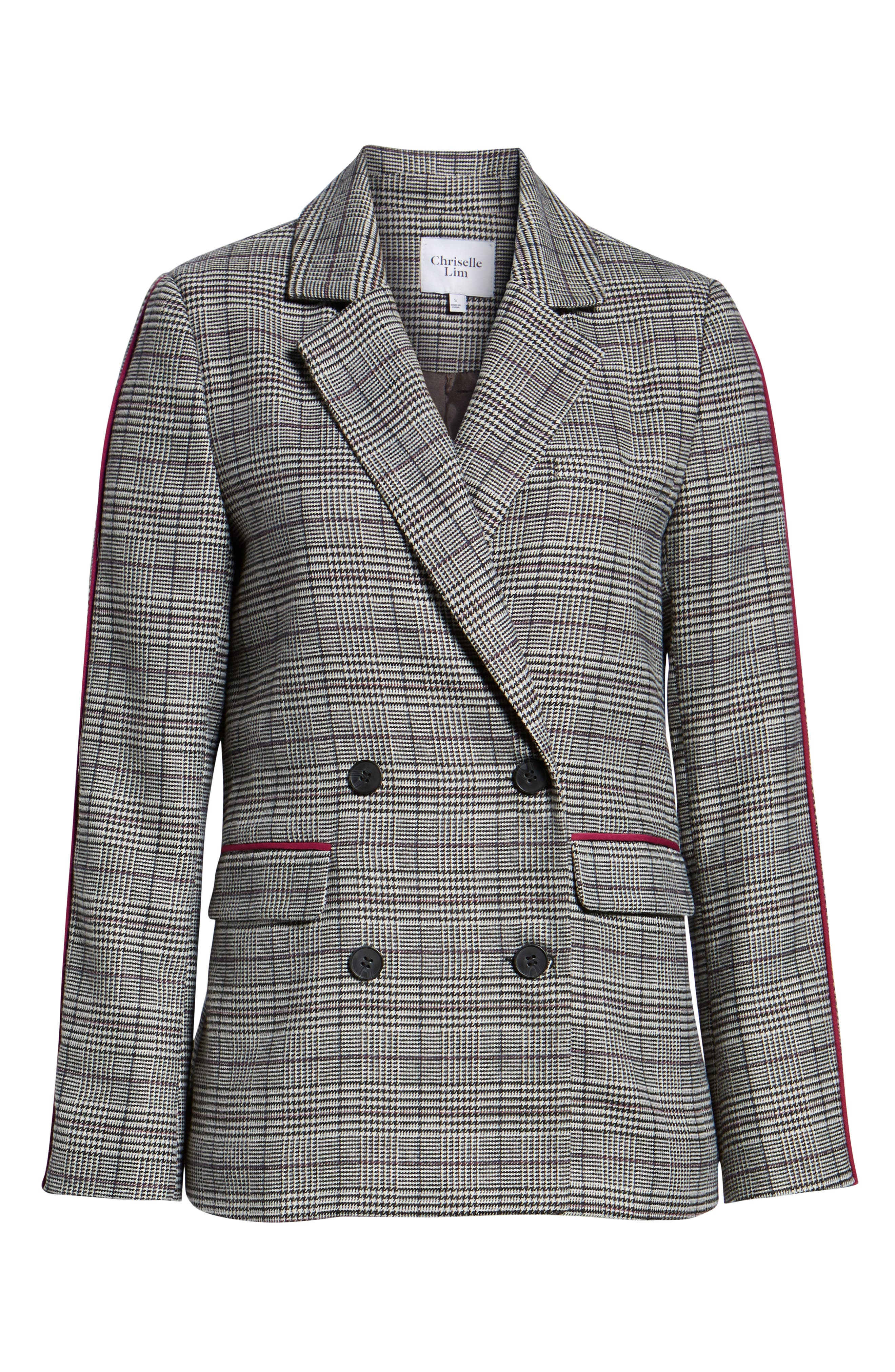 Chriselle Lim Bianca Piped Houndstooth Blazer,                             Alternate thumbnail 7, color,                             GREY PLAID