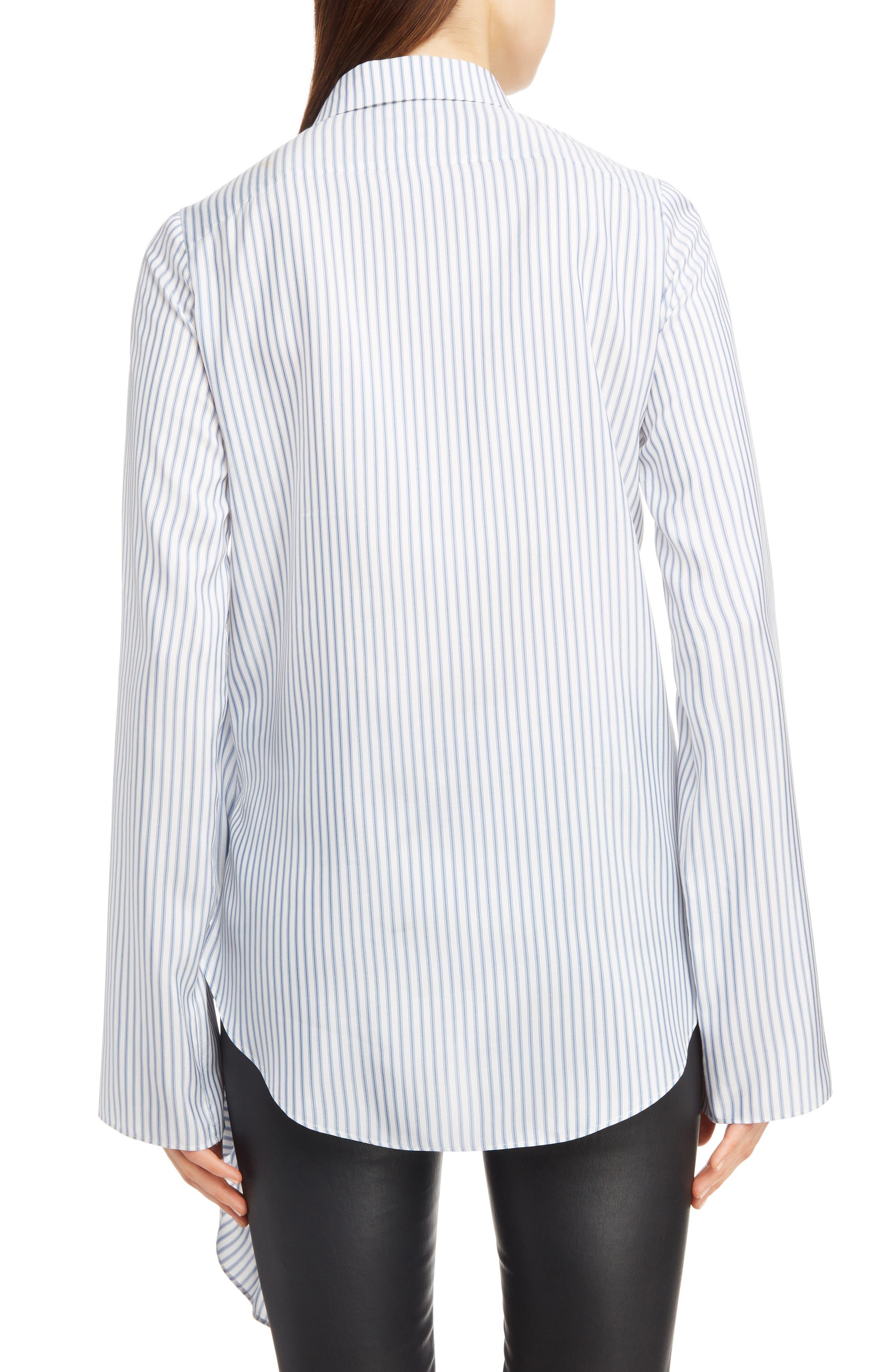 Stripe Tie Hem Silk Shirt,                             Alternate thumbnail 2, color,                             BLUE/ WHITE
