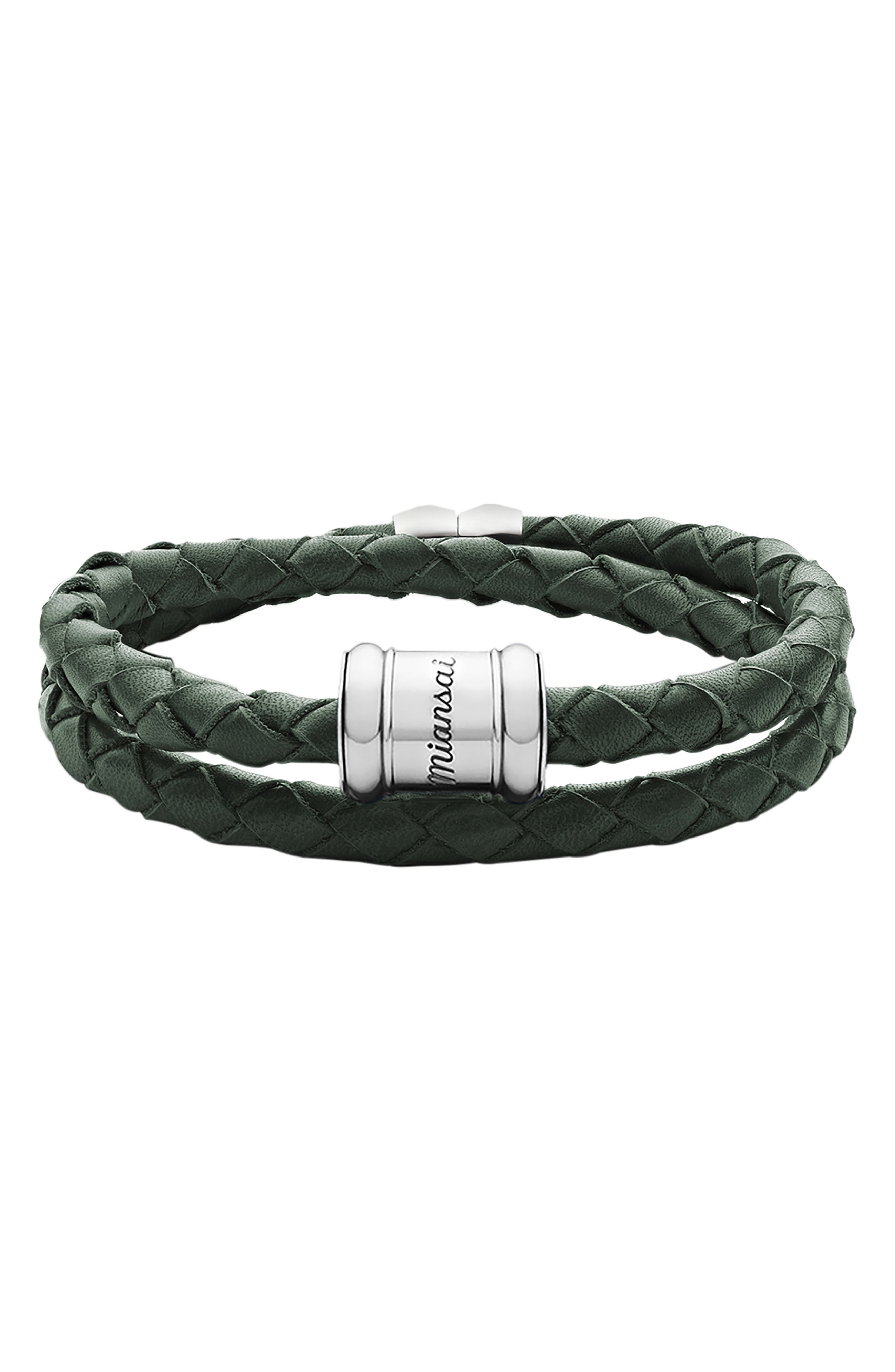 Braided Leather Bracelet,                             Main thumbnail 1, color,                             302