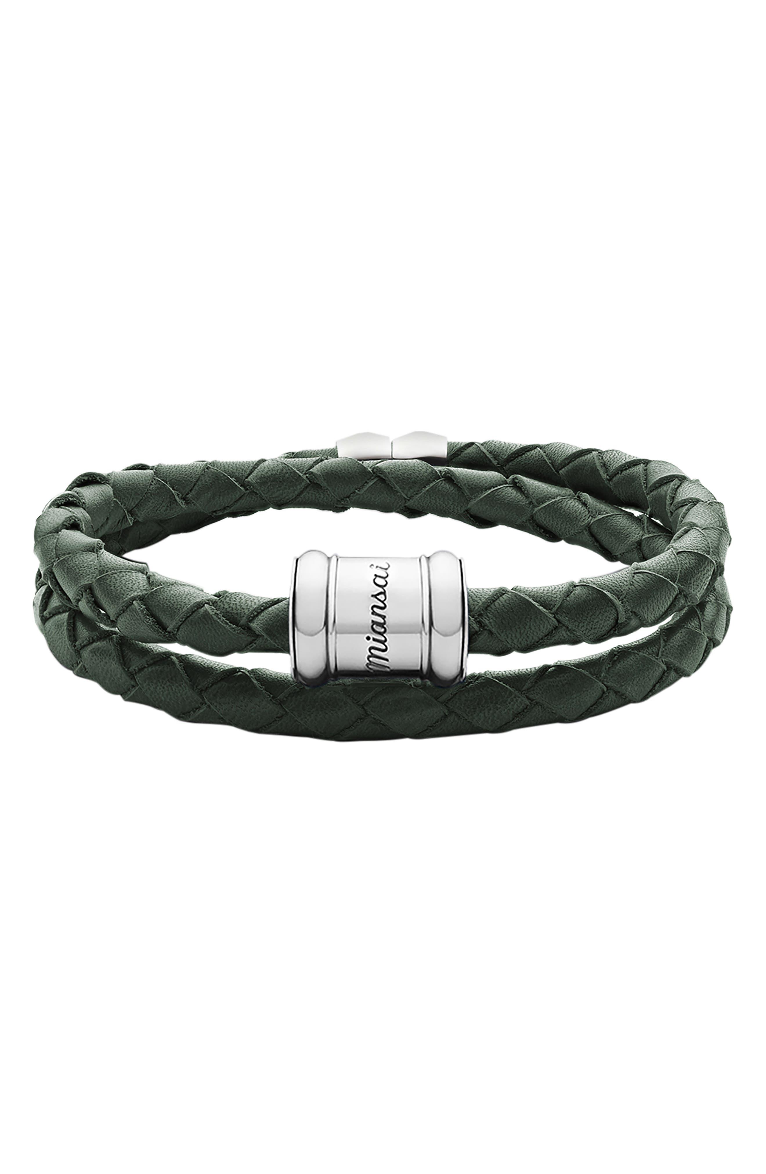 Braided Leather Bracelet,                         Main,                         color, 302