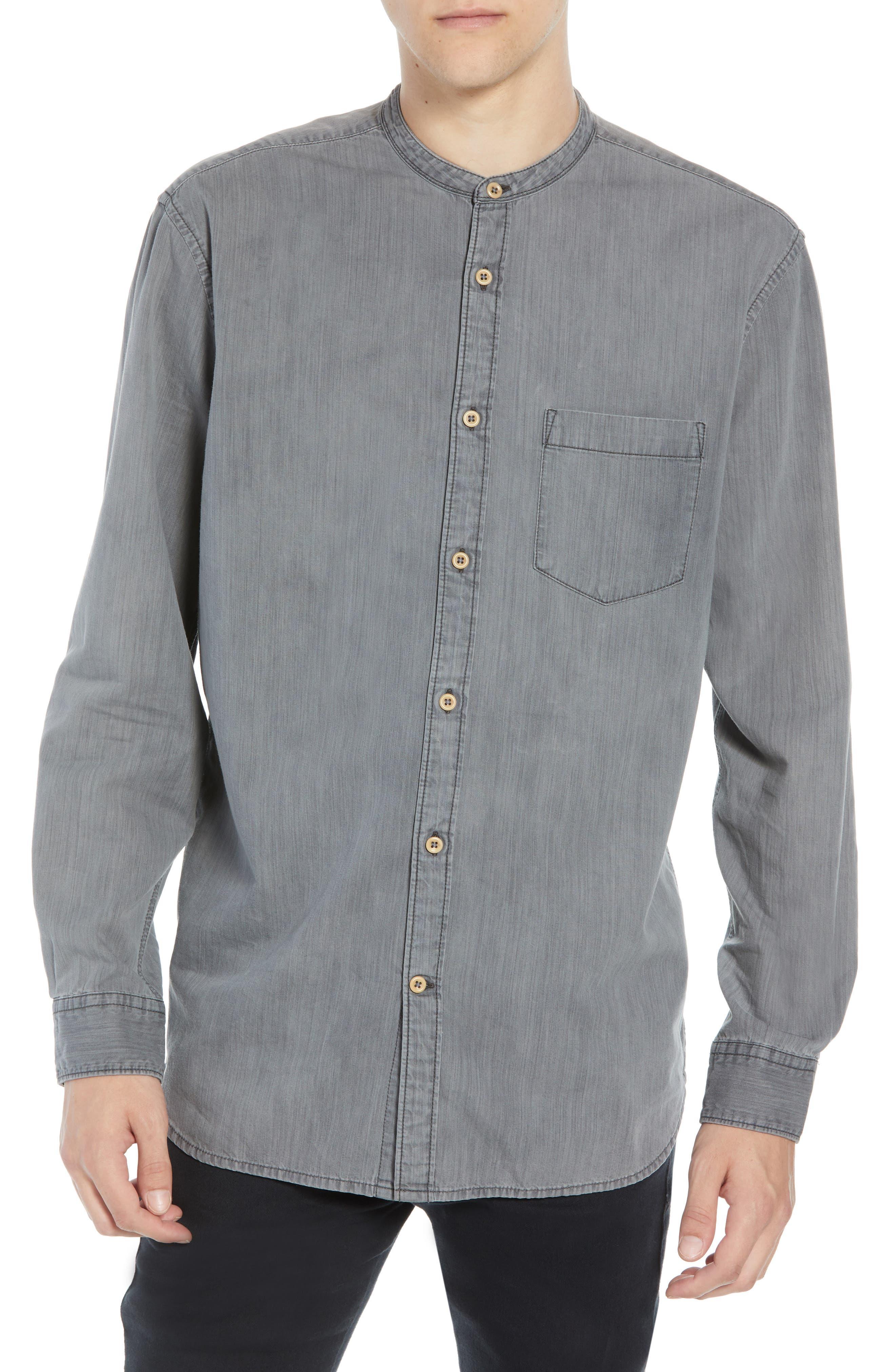 Slim Fit Band Collar Denim Shirt,                             Main thumbnail 1, color,                             GREY