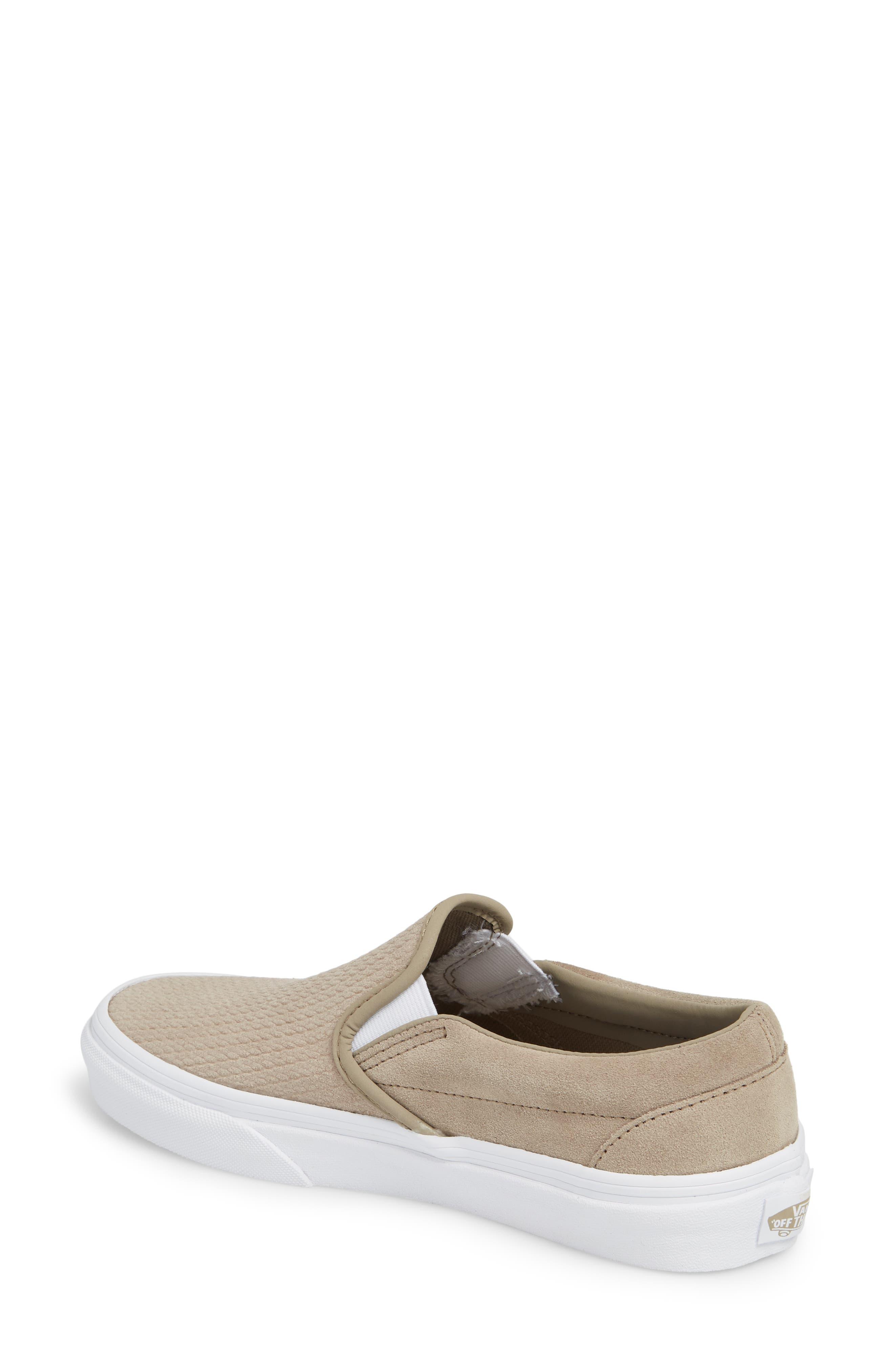 Classic Slip-On Sneaker,                             Alternate thumbnail 2, color,                             DESERT TAUPE/ EMBOSS SUEDE