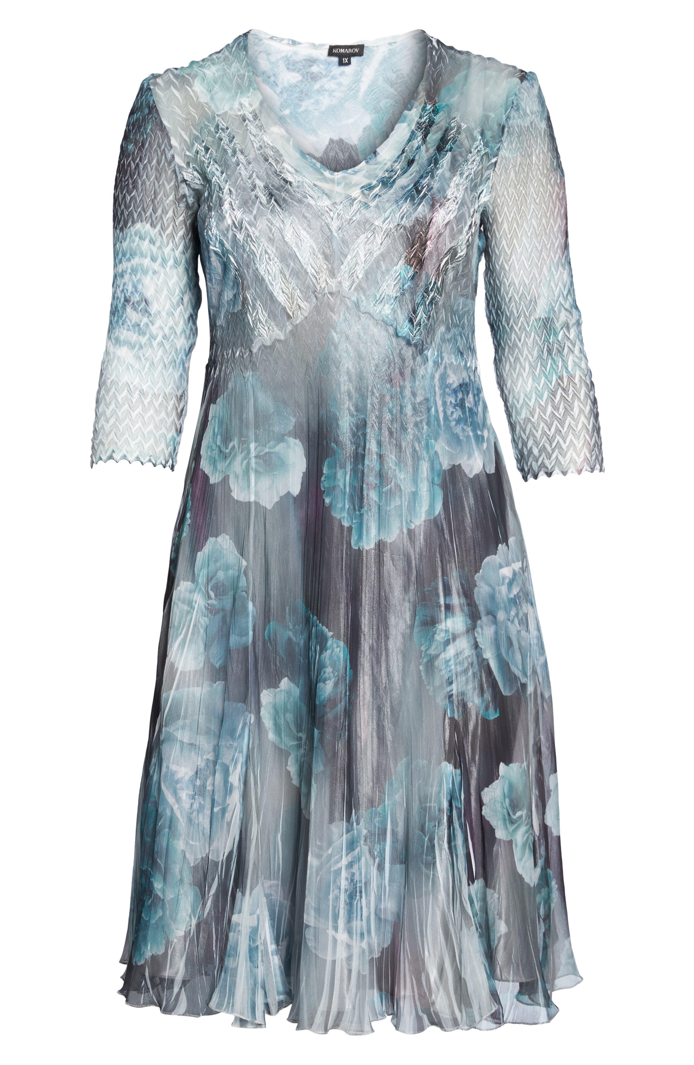 Floral Chiffon Dress,                             Alternate thumbnail 6, color,                             JADE MIST