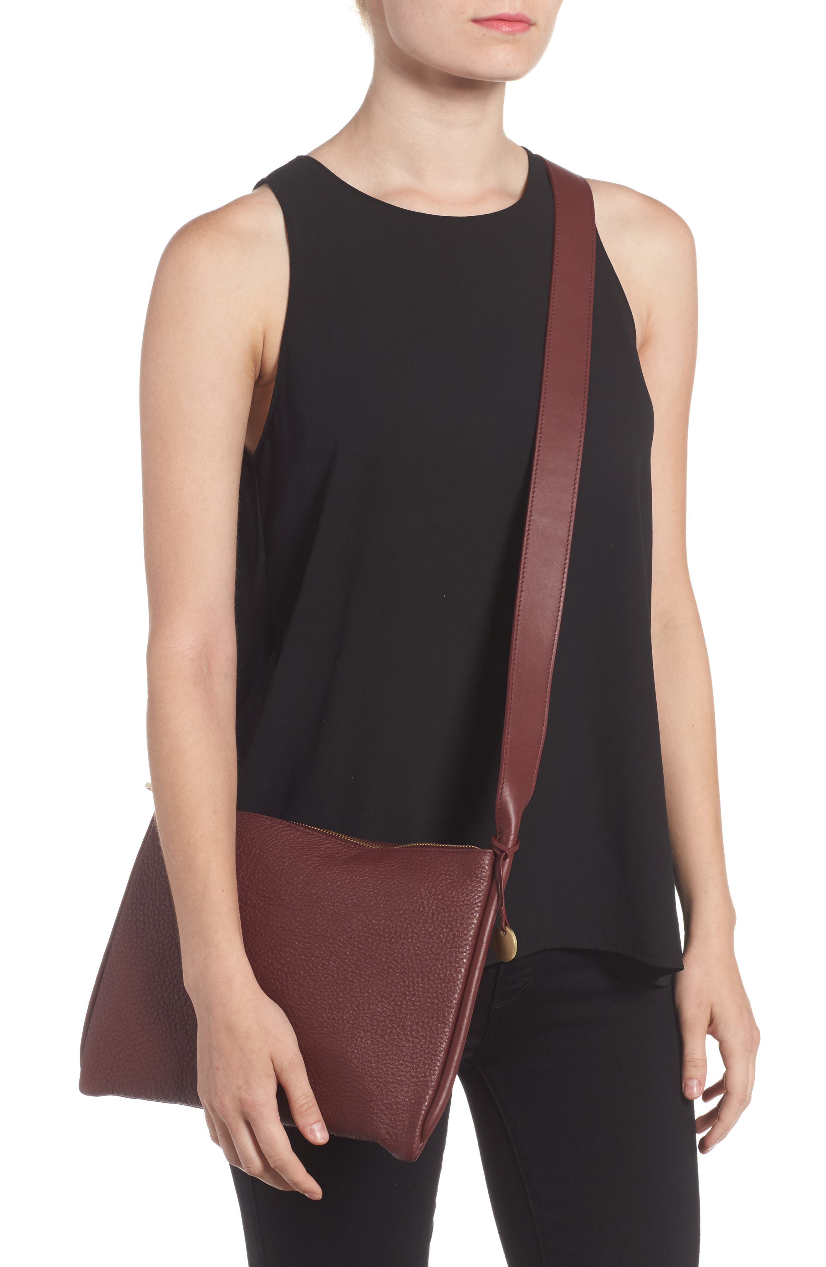 Slim Anesa Leather Crossbody Bag,                             Alternate thumbnail 4, color,