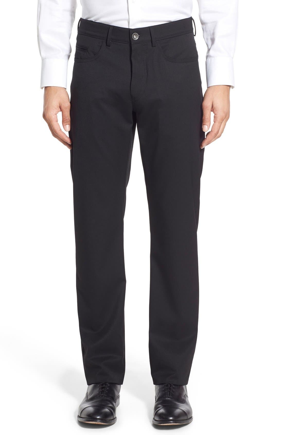 Flat Front Solid Wool Blend Trousers,                         Main,                         color, 001