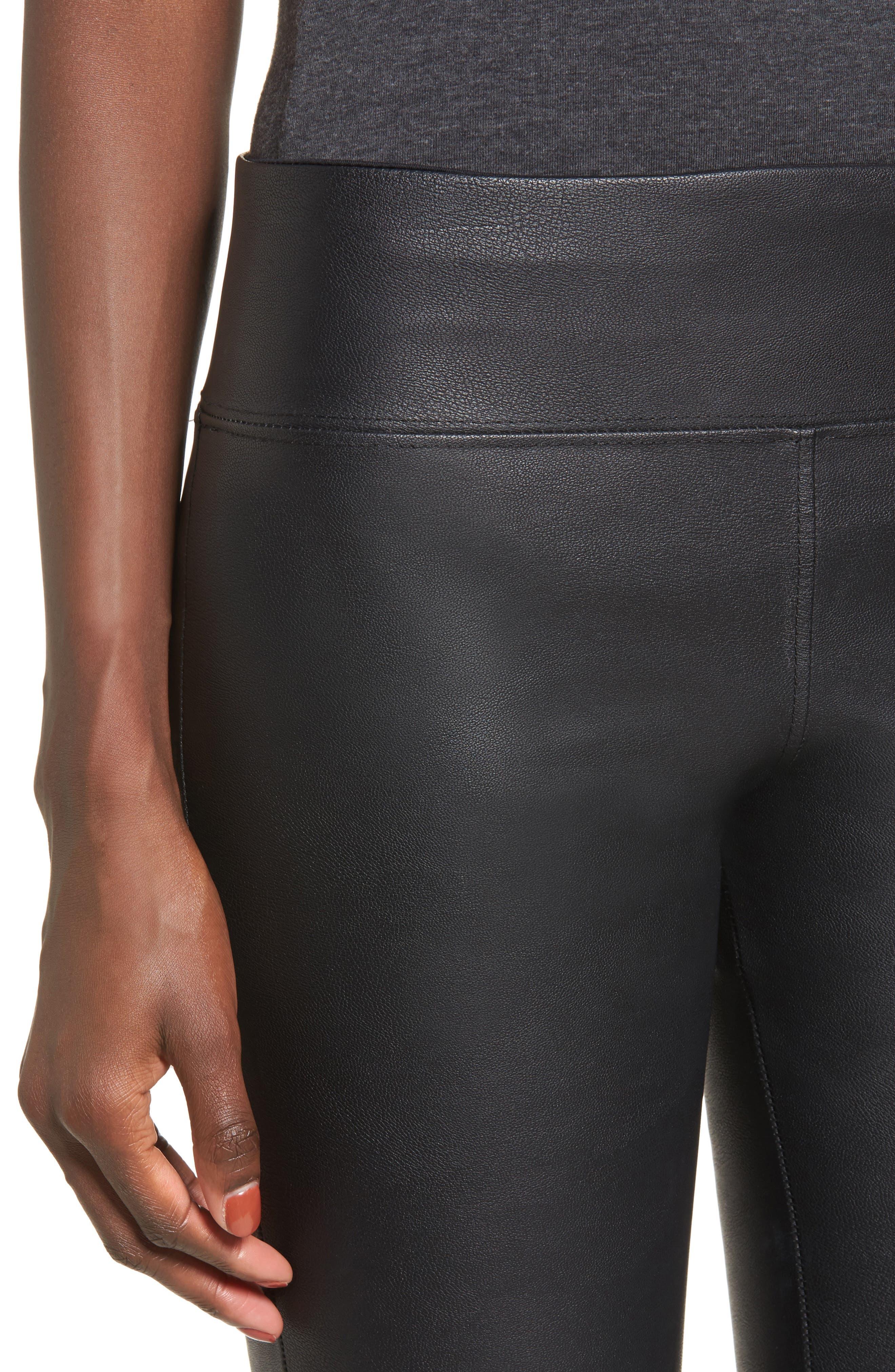 Gemma High Waist Faux Leather Leggings,                             Alternate thumbnail 4, color,                             BLACK