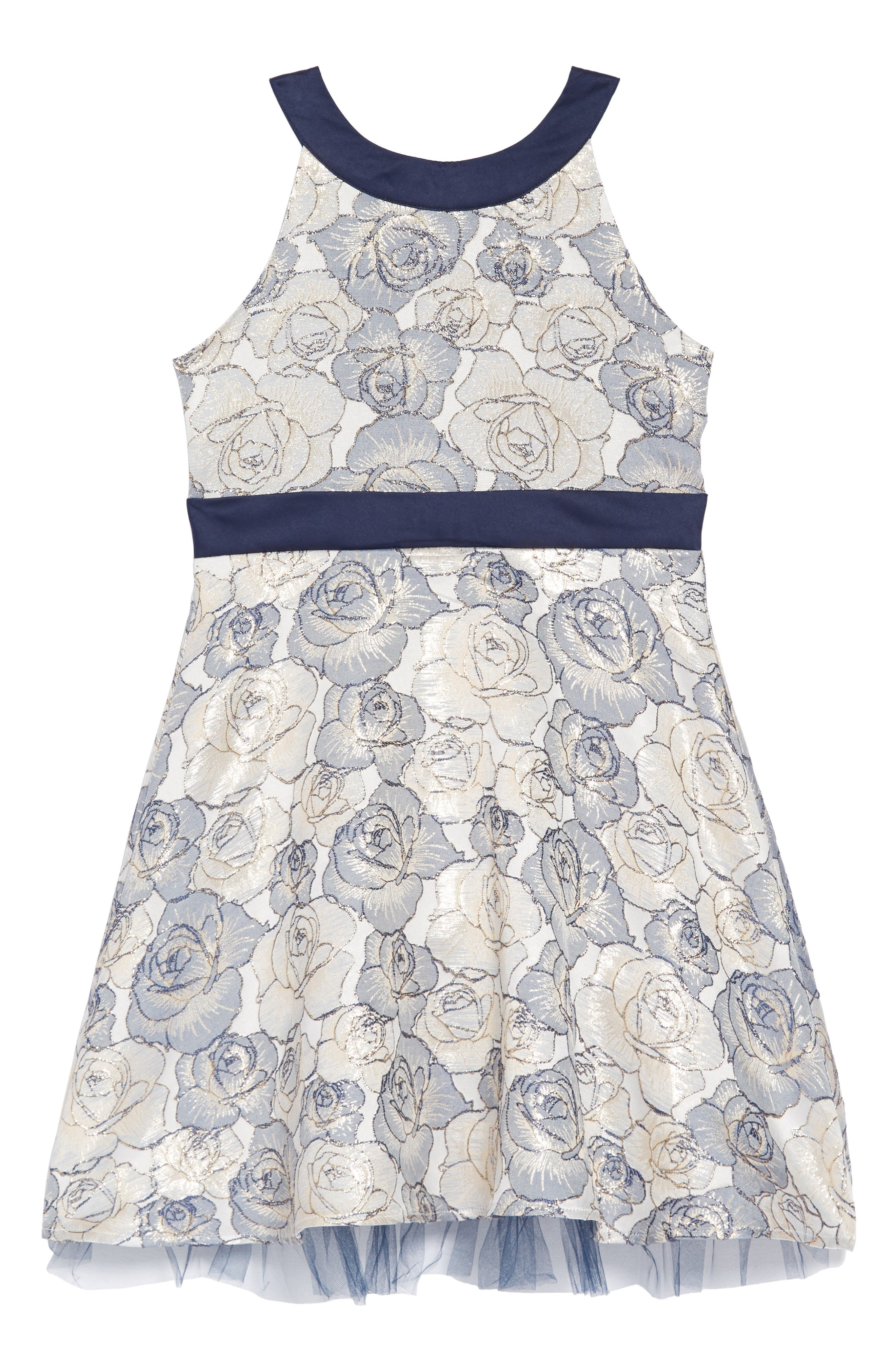 Floral Brocade Fit & Flare Dress,                         Main,                         color, NAVY/GOLD