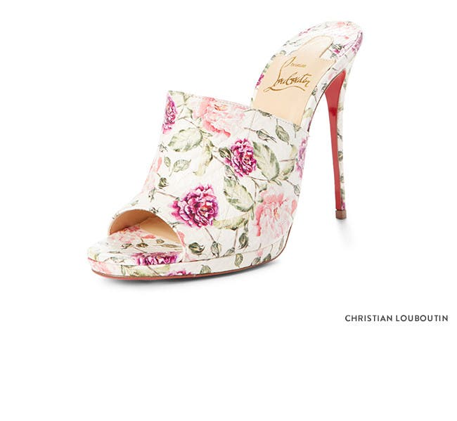 Mules for days and nights. Christian Louboutin floral slides.
