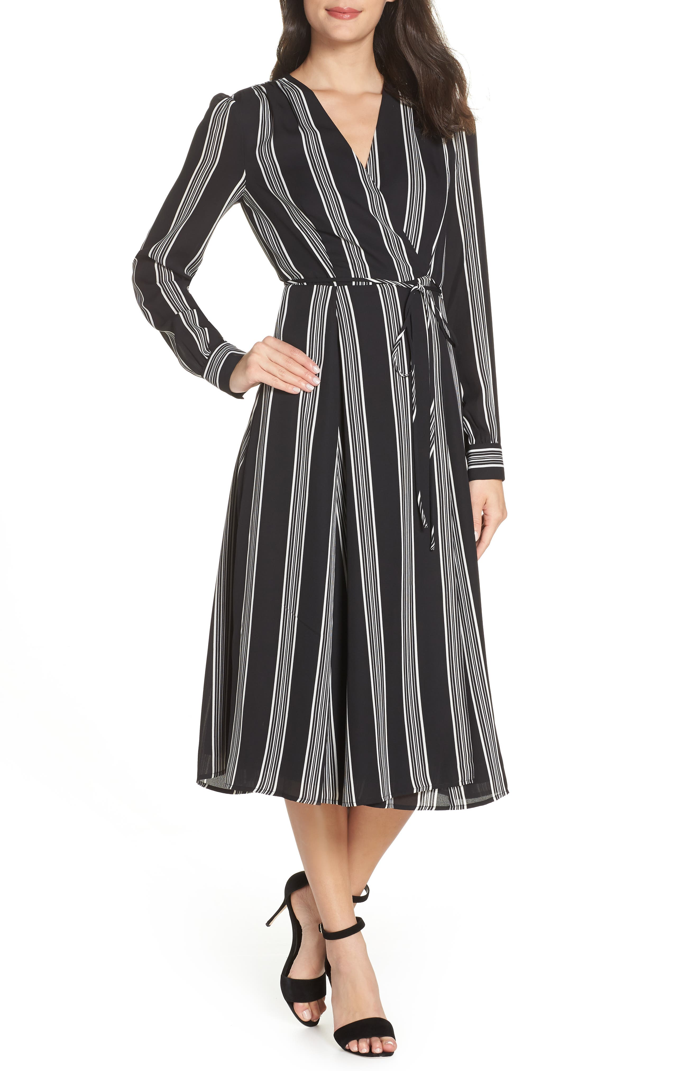 CHARLES HENRY Stripe Tie Waist Midi Dress in Black Stripe