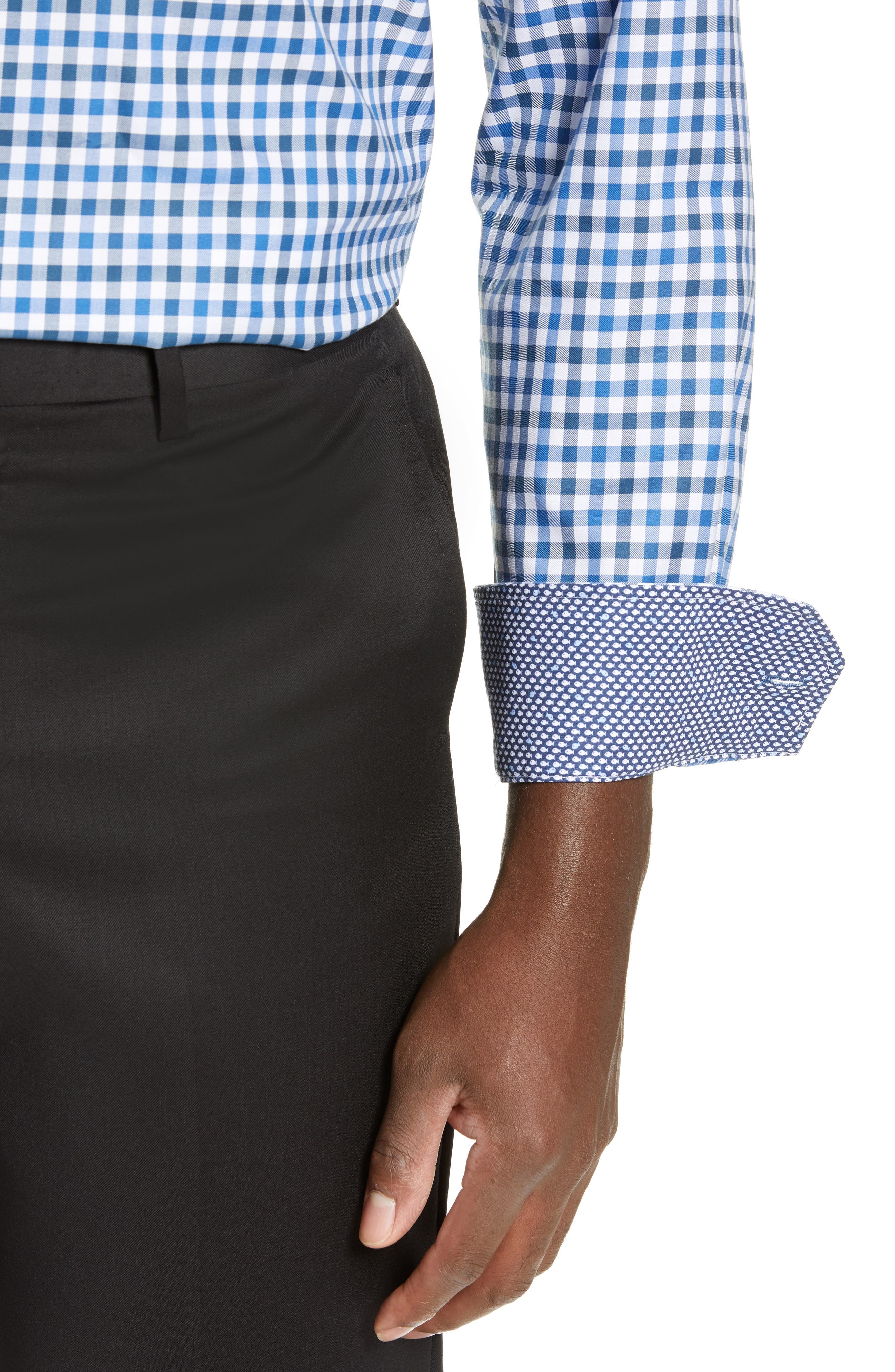 Trim Fit Check Dress Shirt,                             Alternate thumbnail 2, color,                             CLASSIC BLUE