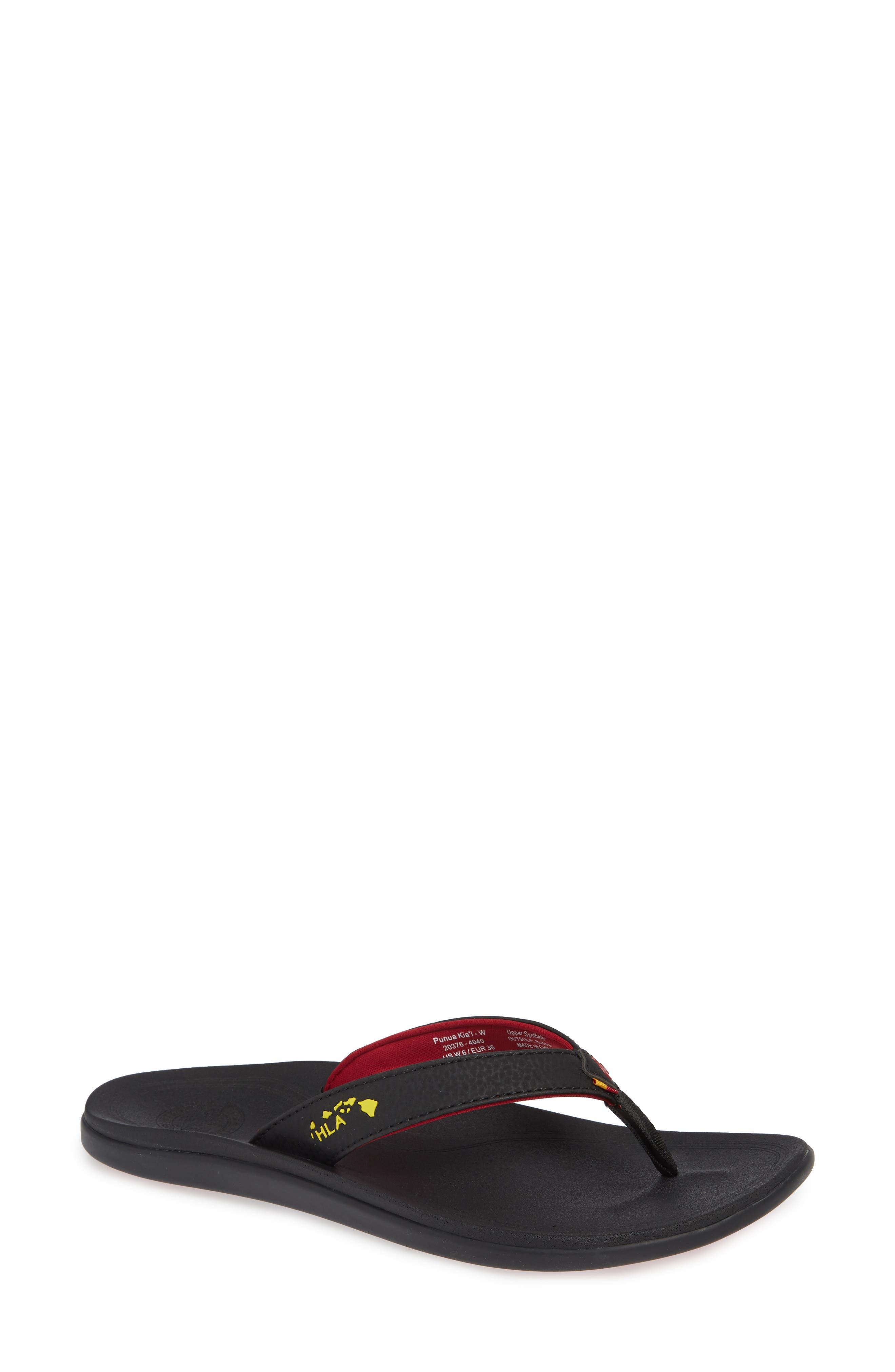 Punua Kiai Flip Flop,                         Main,                         color, BLACK/ BLACK FABRIC