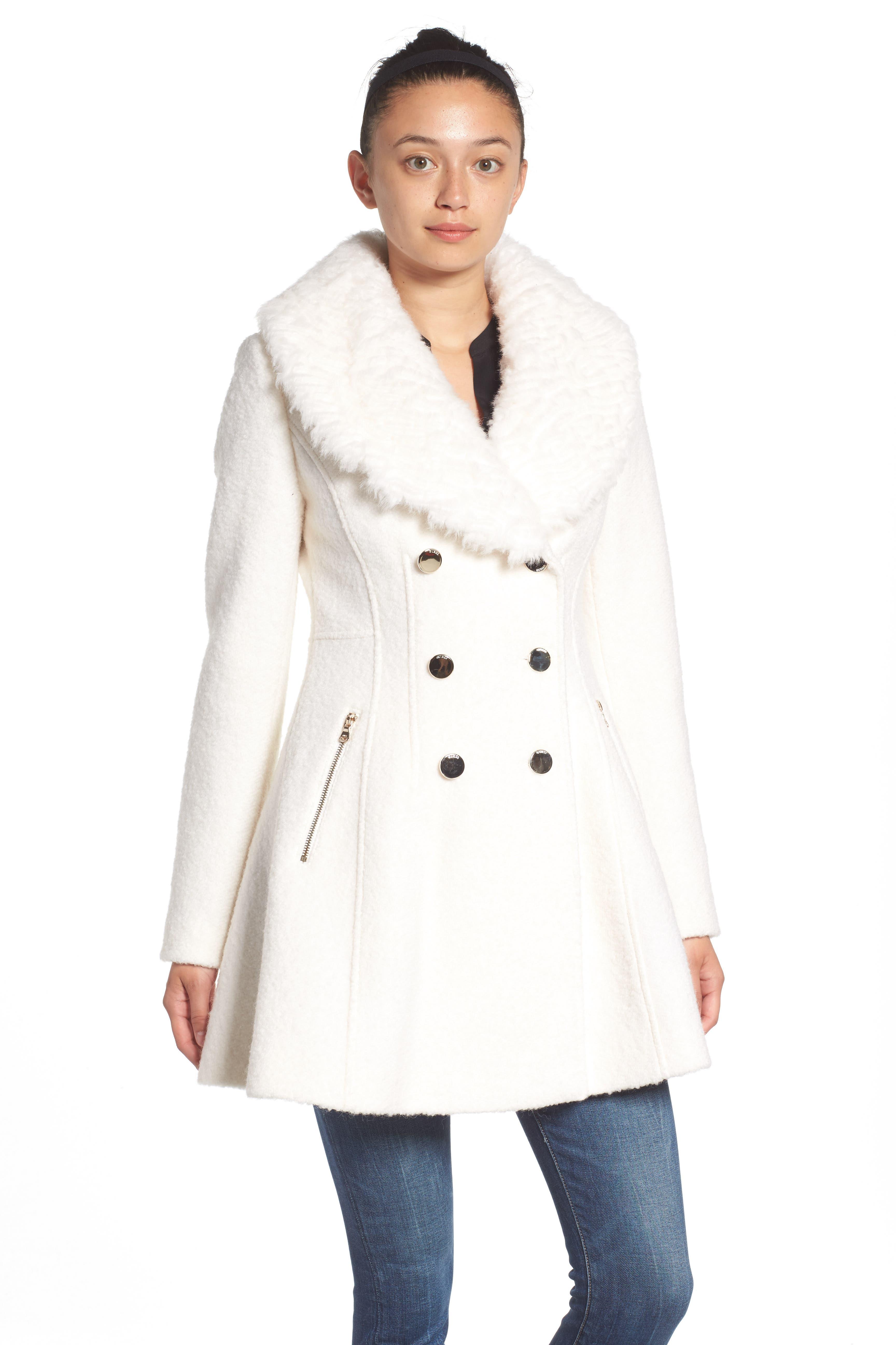Bouclé Fit & Flare Coat with Faux Fur Collar,                             Alternate thumbnail 6, color,