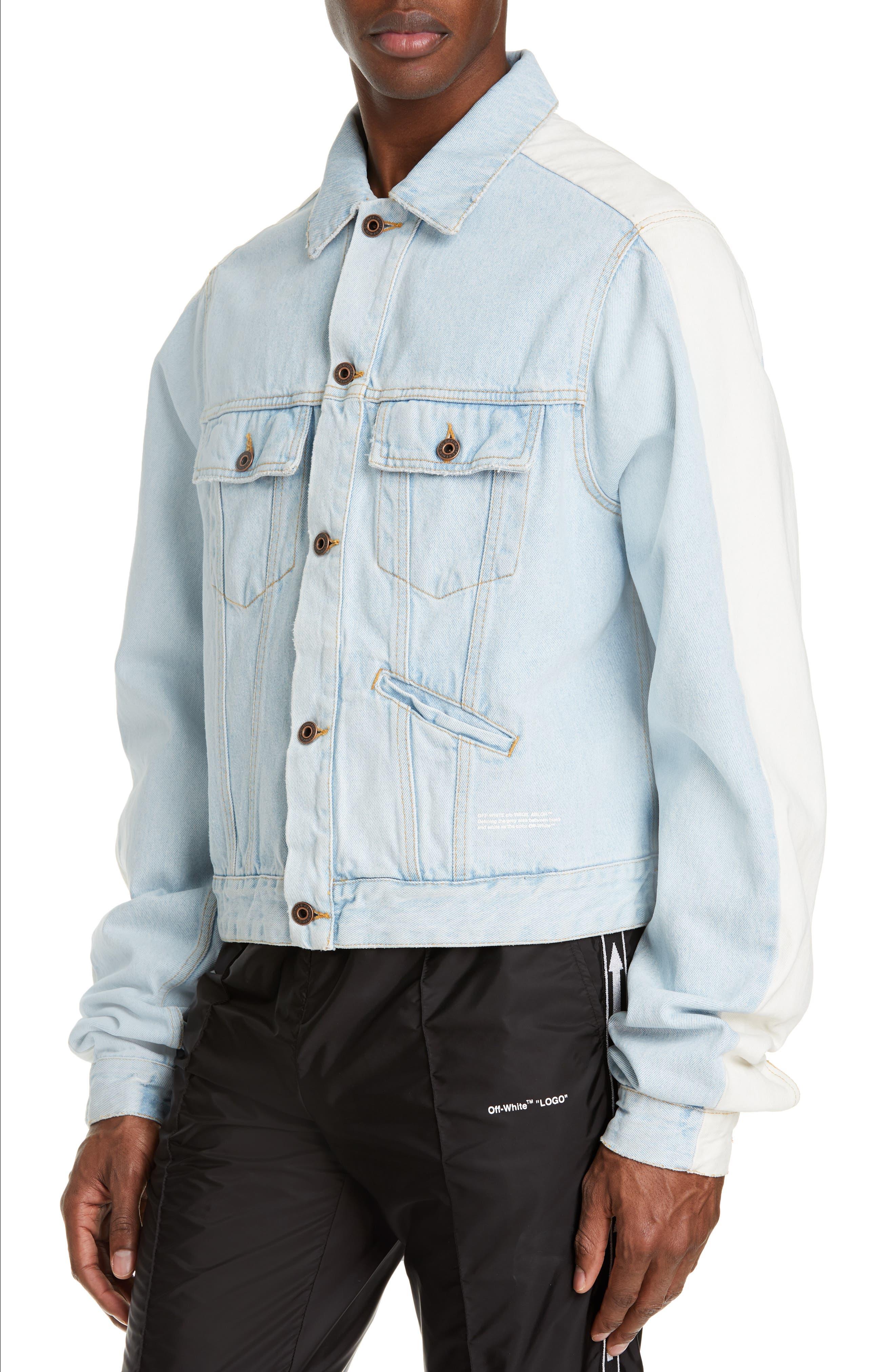 Exaggerated Sleeve Denim Jacket,                             Alternate thumbnail 4, color,                             BLEACH