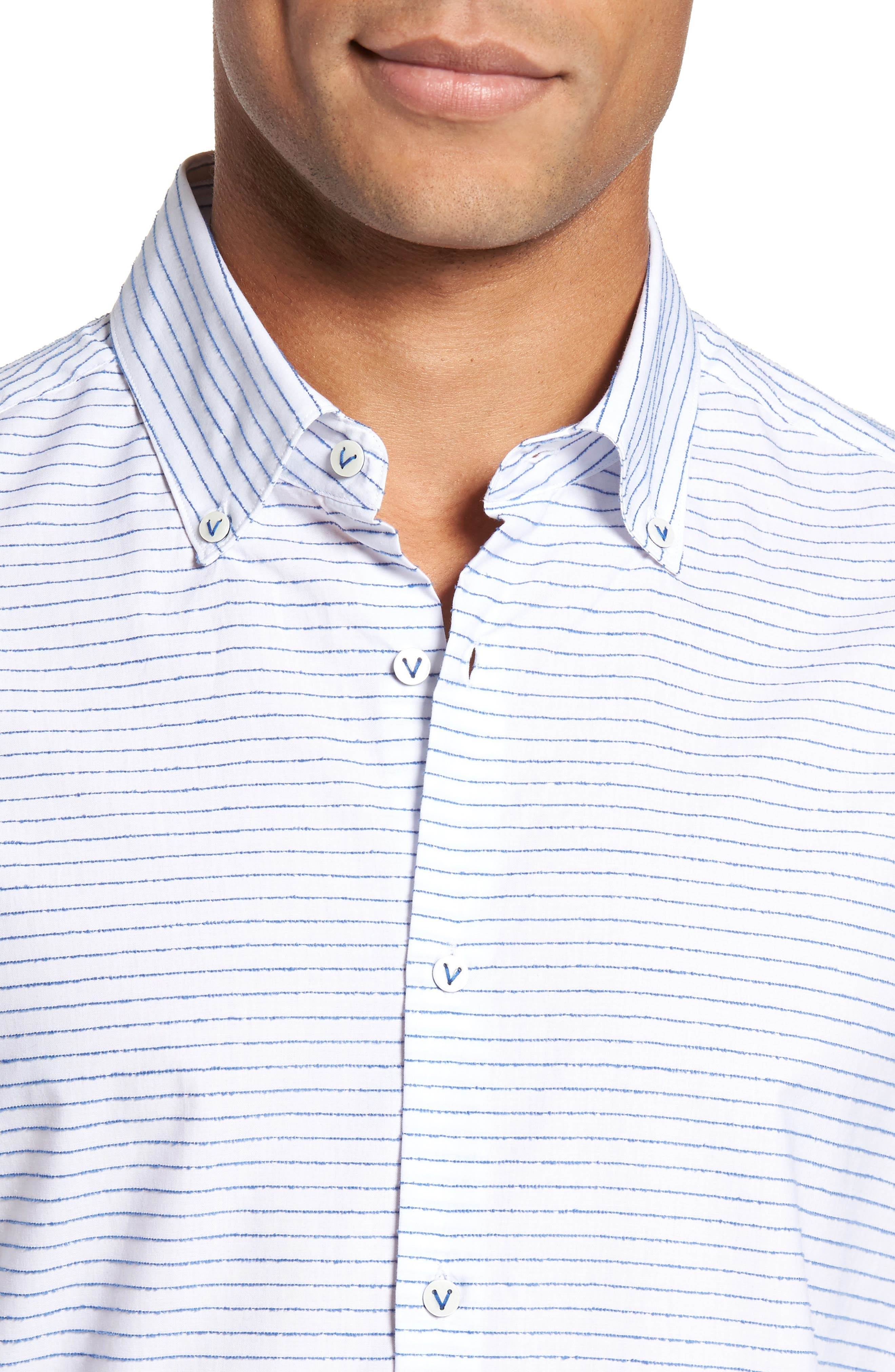 Slim Fit Stripe Sport Shirt,                             Alternate thumbnail 4, color,                             163