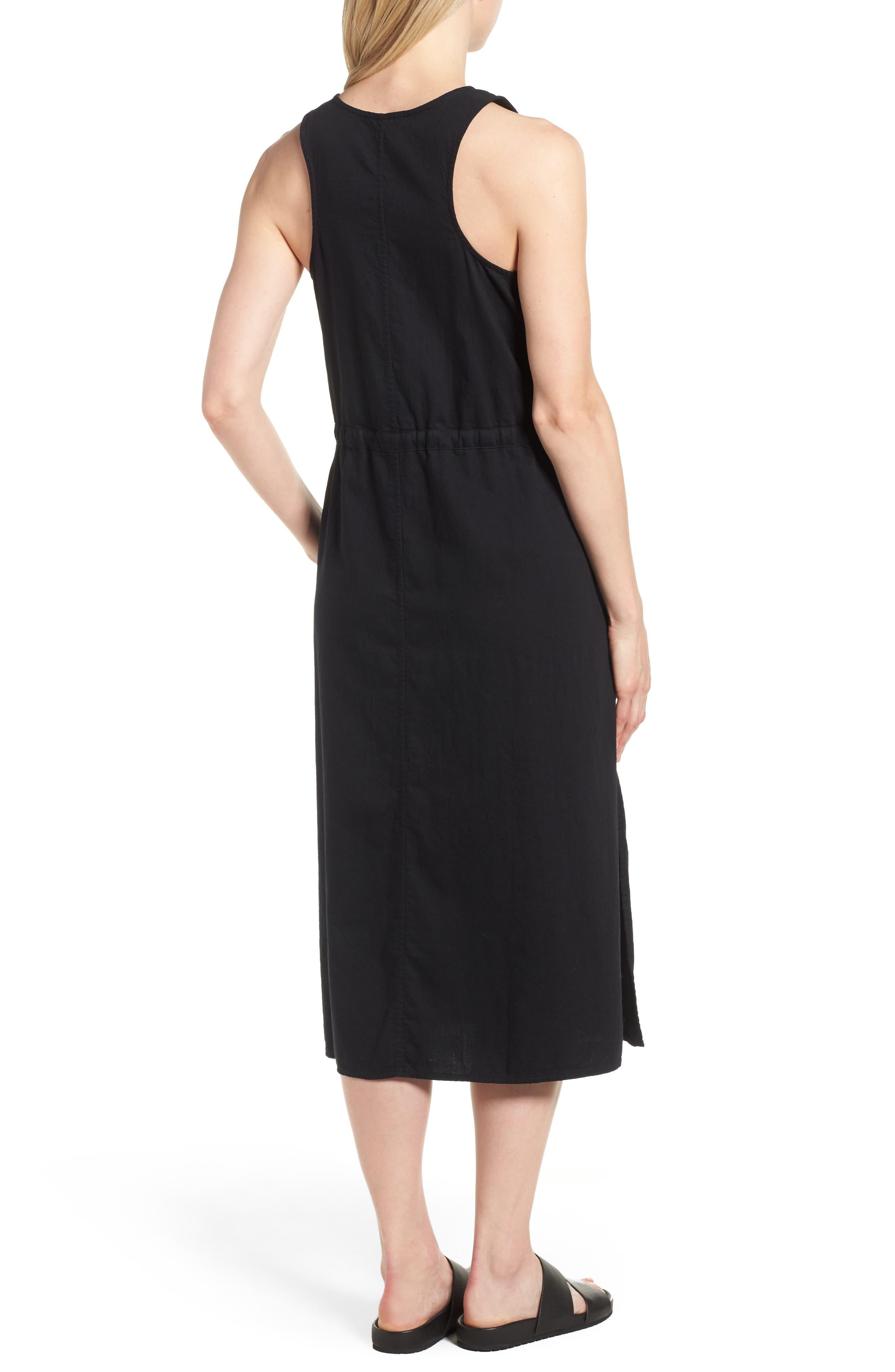Drawstring Organic Cotton Midi Dress,                             Alternate thumbnail 2, color,                             001