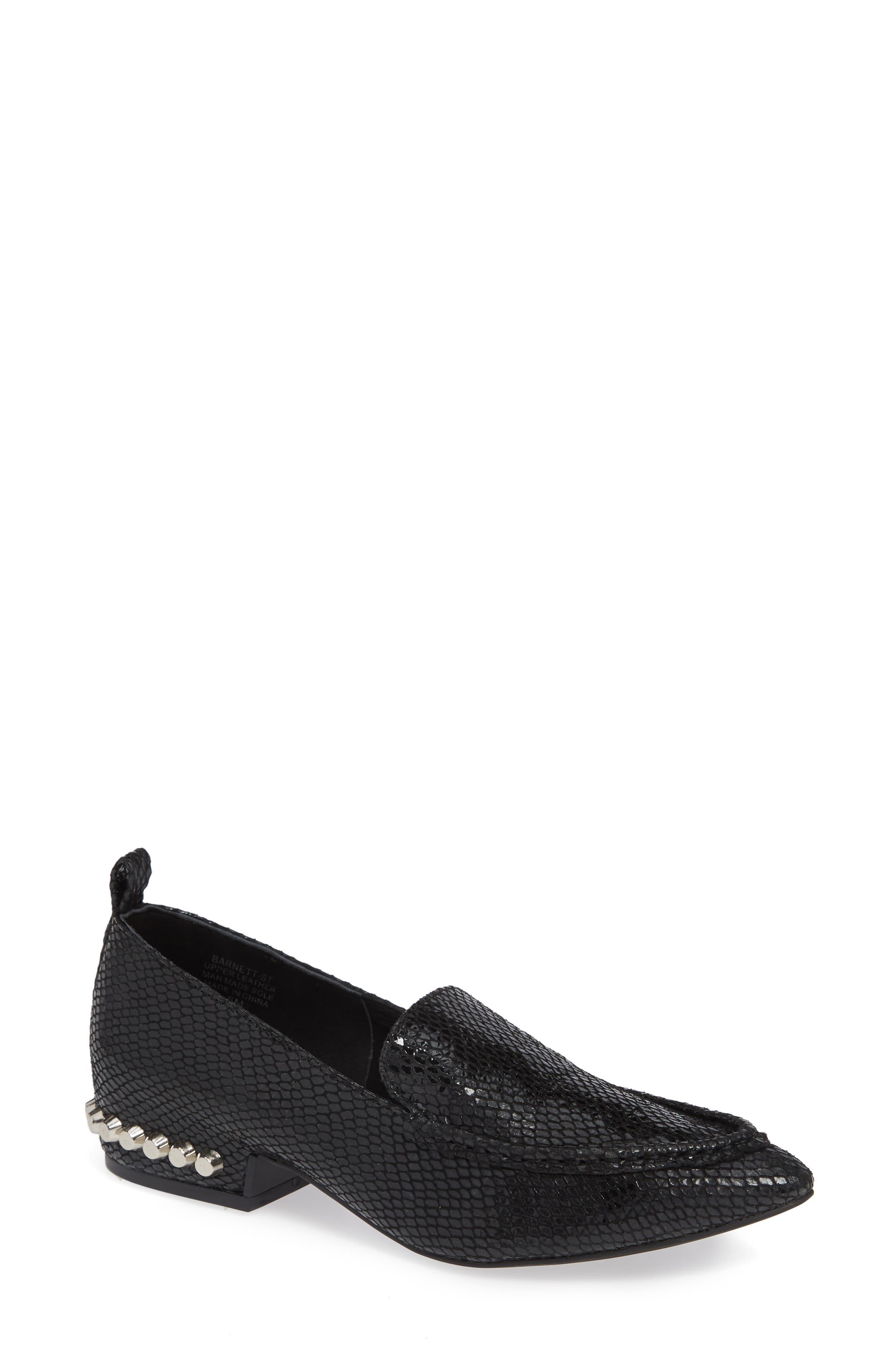 Barnett Studded Loafer,                             Main thumbnail 1, color,                             BLACK SNAKE SILVER