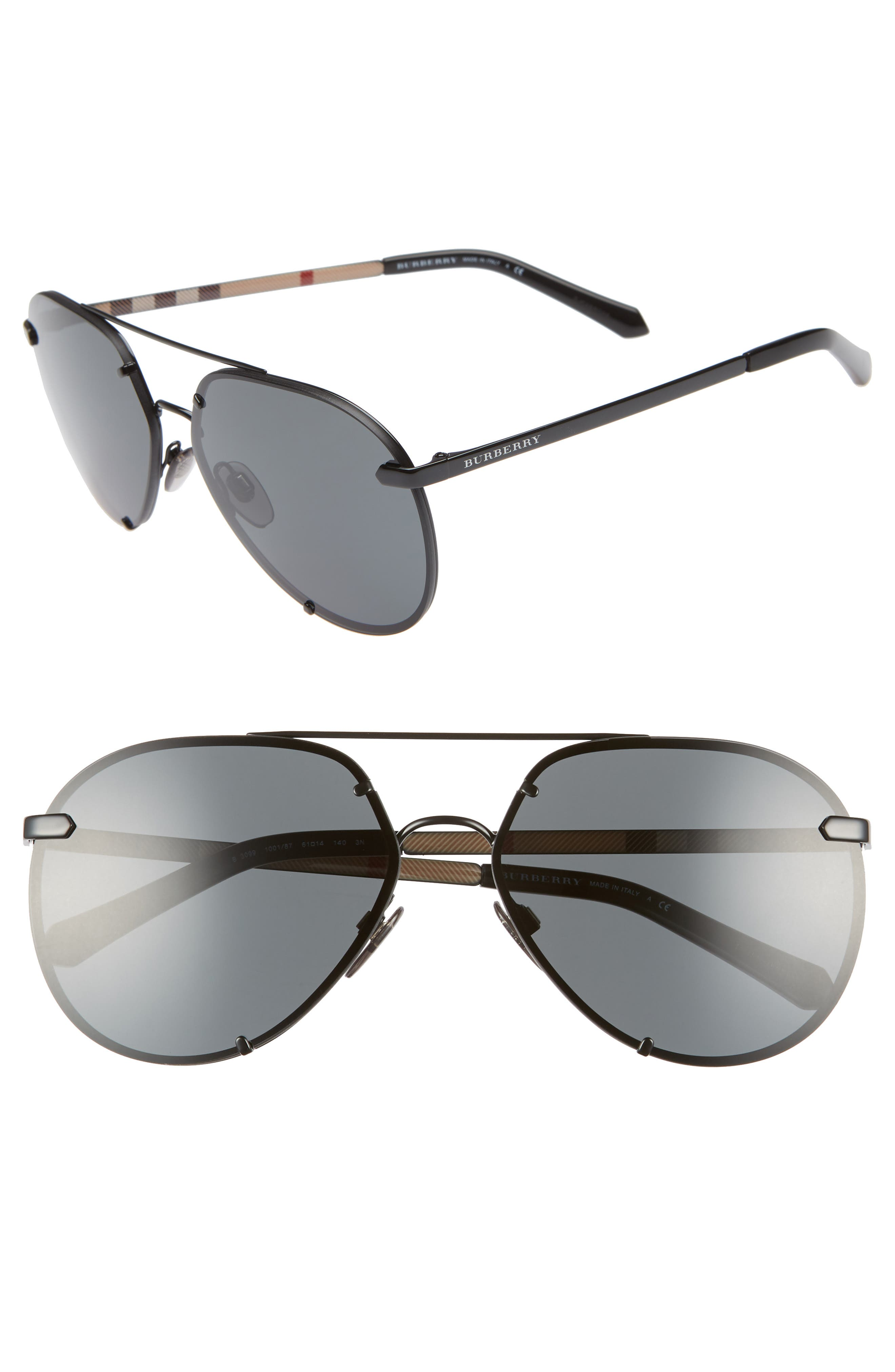 Trench 61mm Aviator Sunglasses,                         Main,                         color, BLACK SOLID