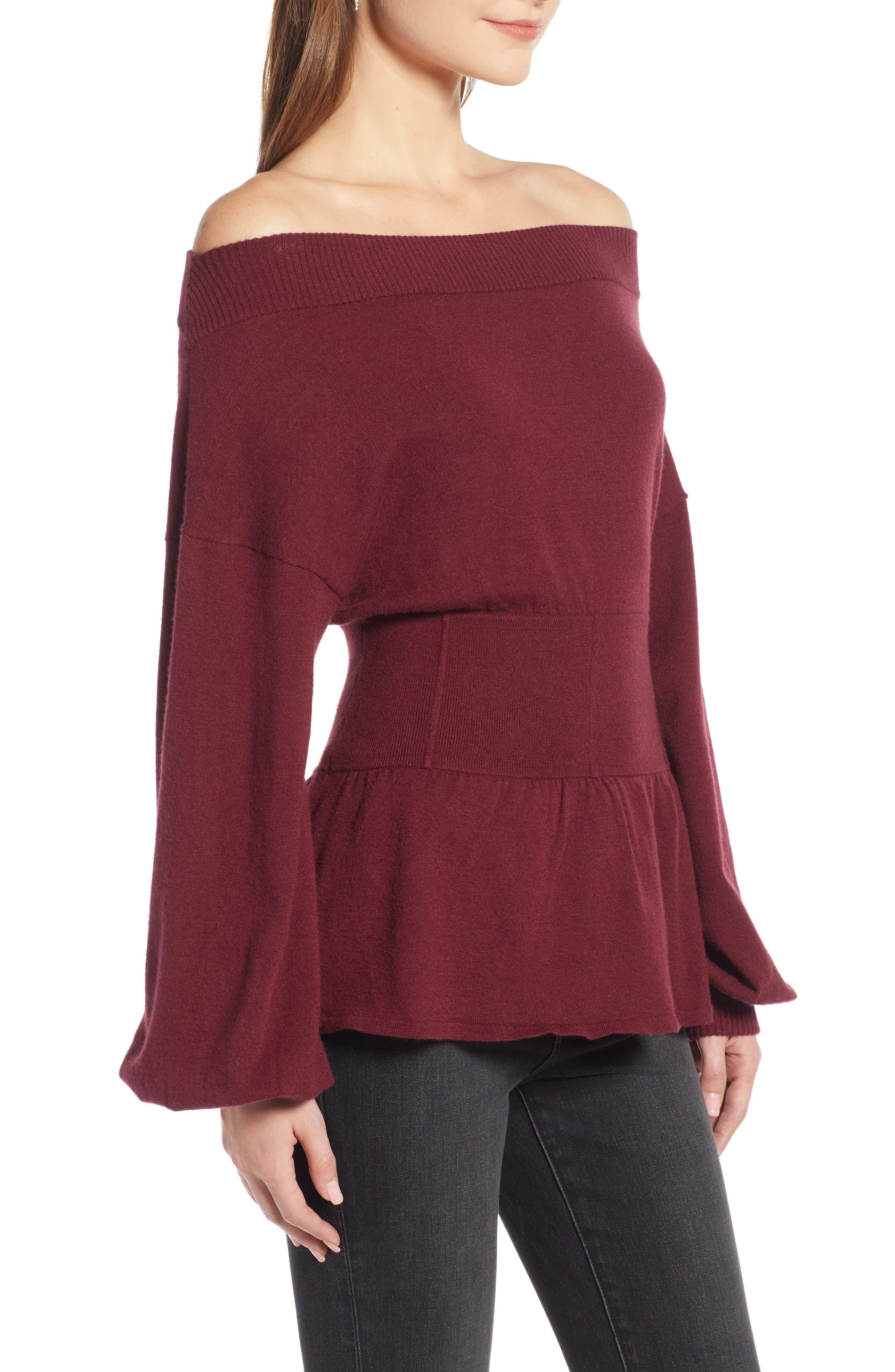 Waist Detail Off the Shoulder Sweater,                             Alternate thumbnail 3, color,                             601