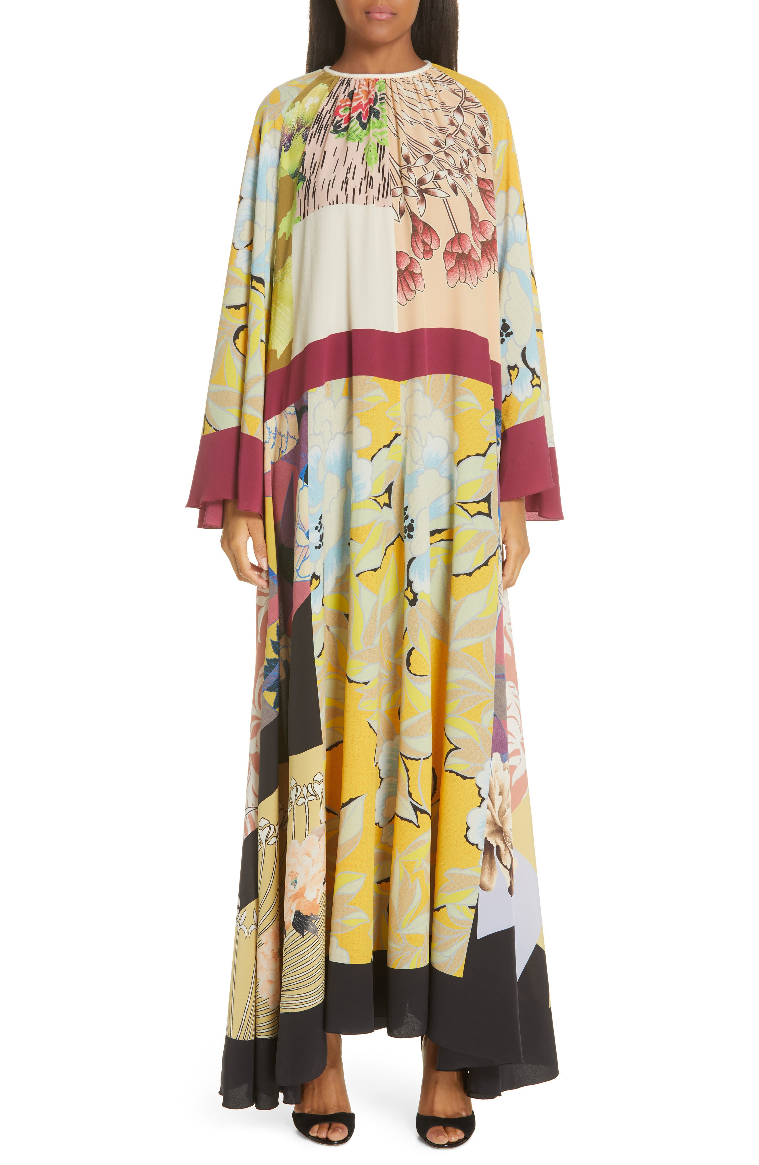 Etro Belted Print Silk Maxi Dress