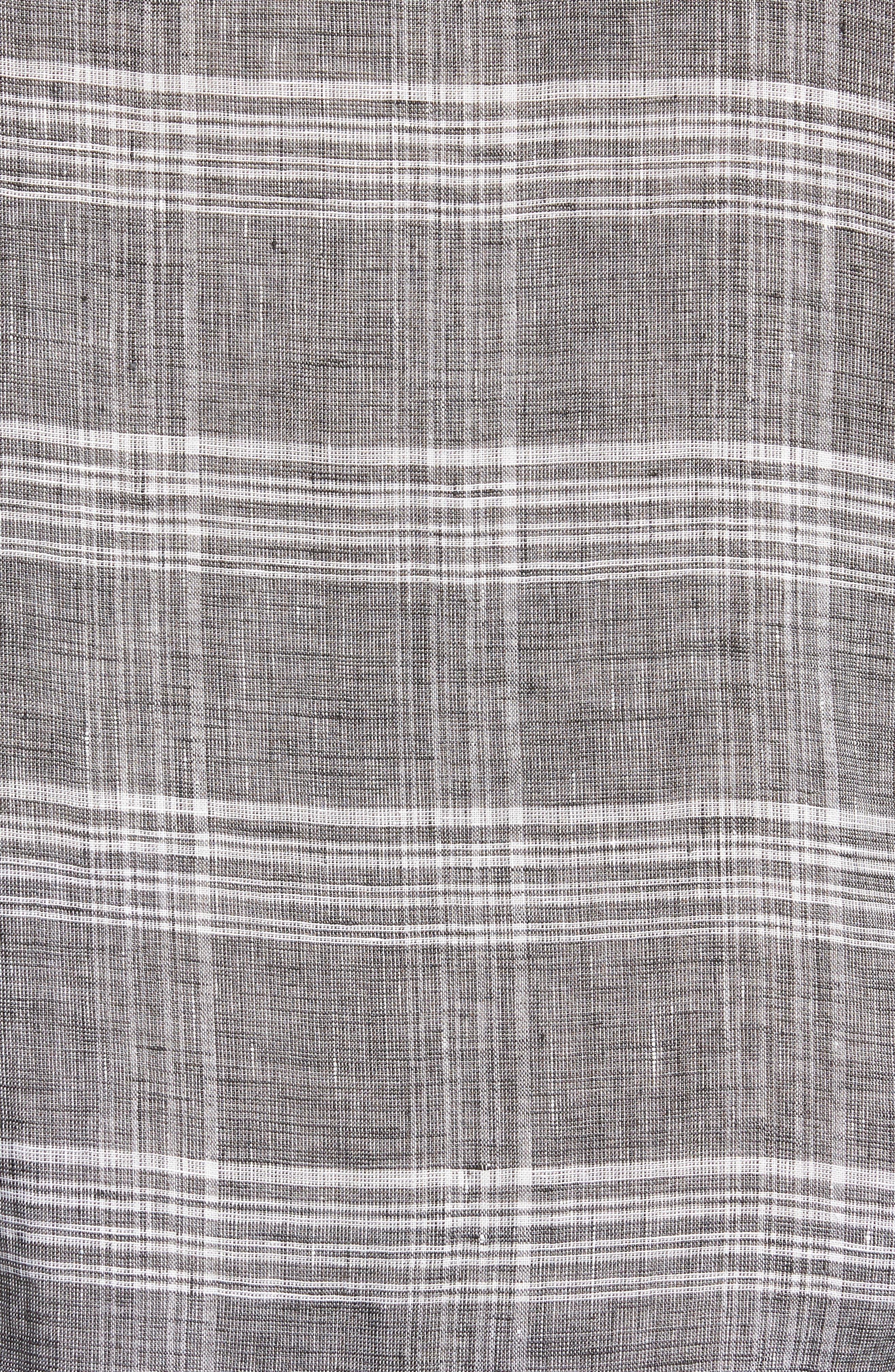John Standard Fit Plaid Linen Sport Shirt,                             Alternate thumbnail 5, color,                             061