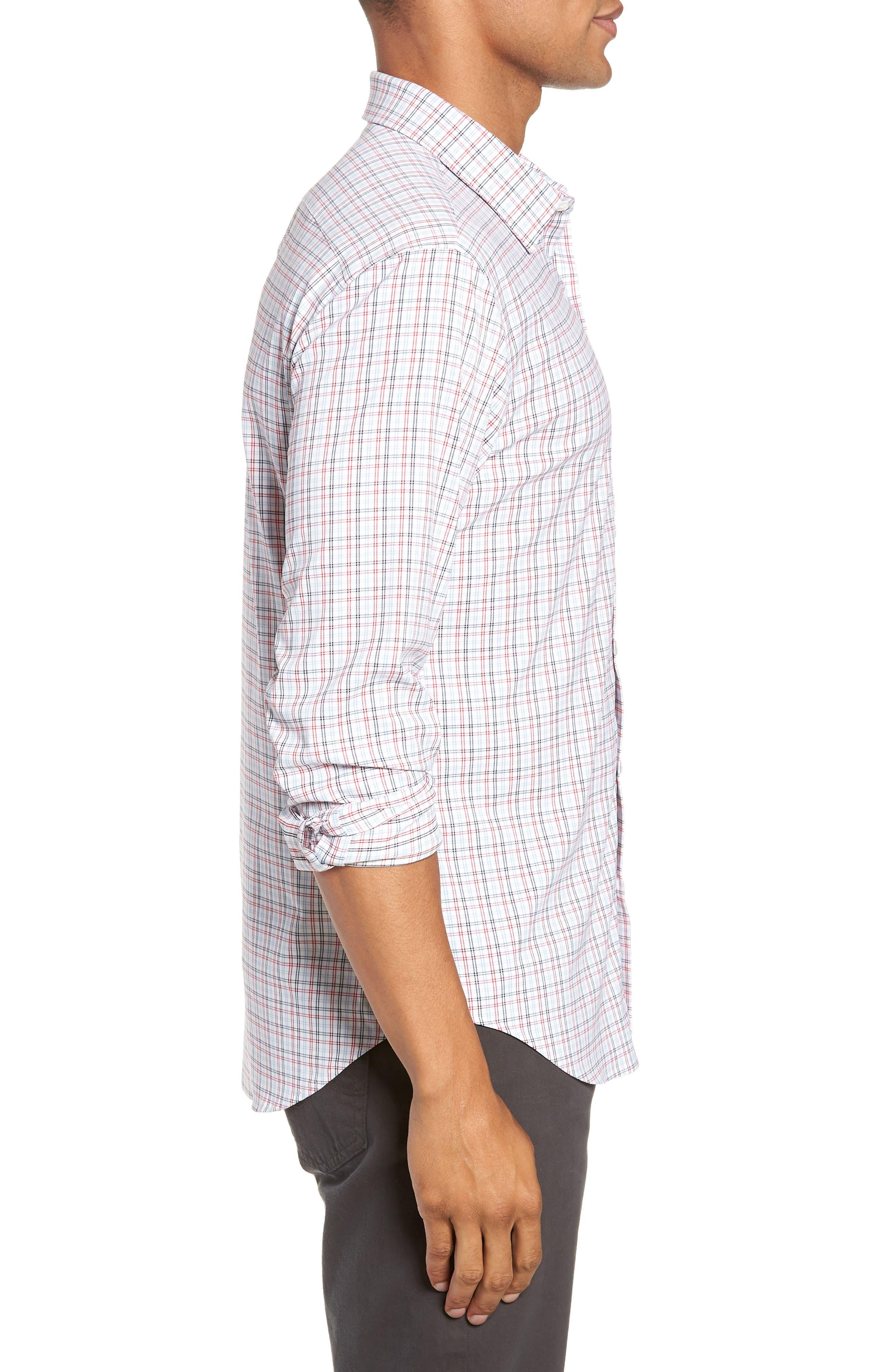 Slim Fit Check Performance Sport Shirt,                             Alternate thumbnail 4, color,                             HILLGROVE CHECK - CERISE