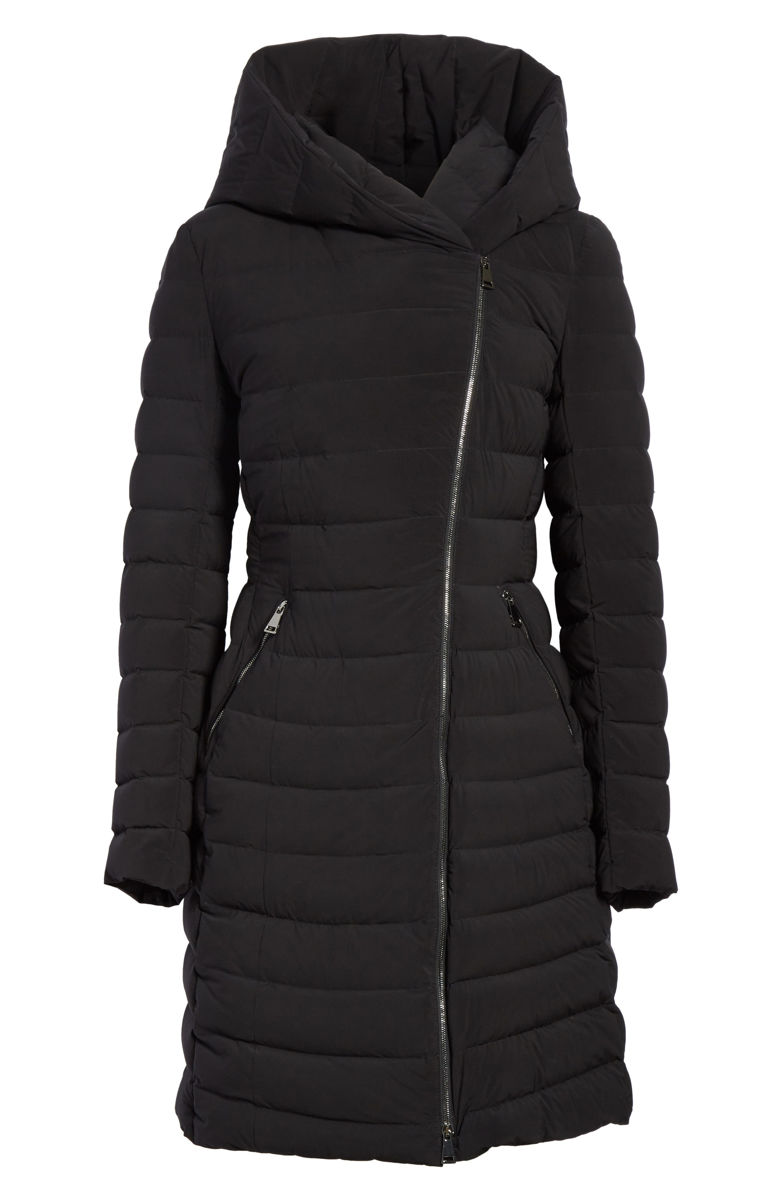 Barge Quilted Down Coat,                             Alternate thumbnail 5, color,                             BLACK