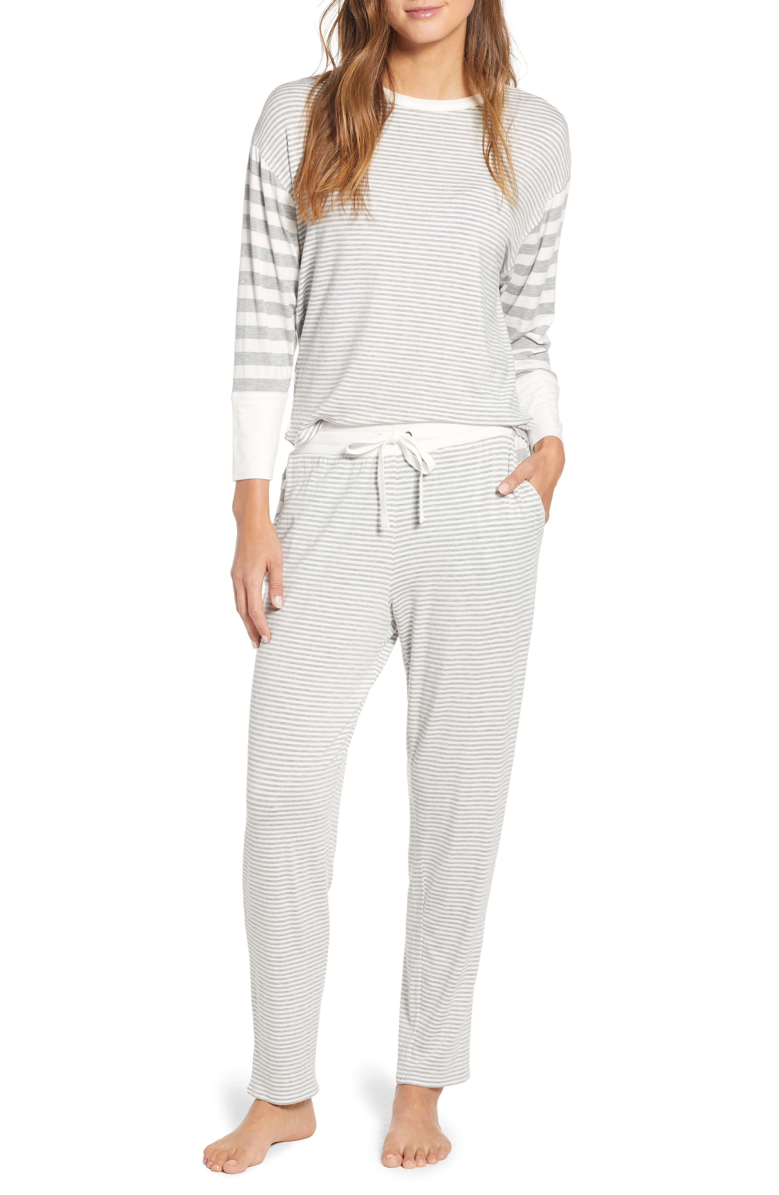 Mixed Stripe Lounge Set,                         Main,                         color, GRAY HEATHER