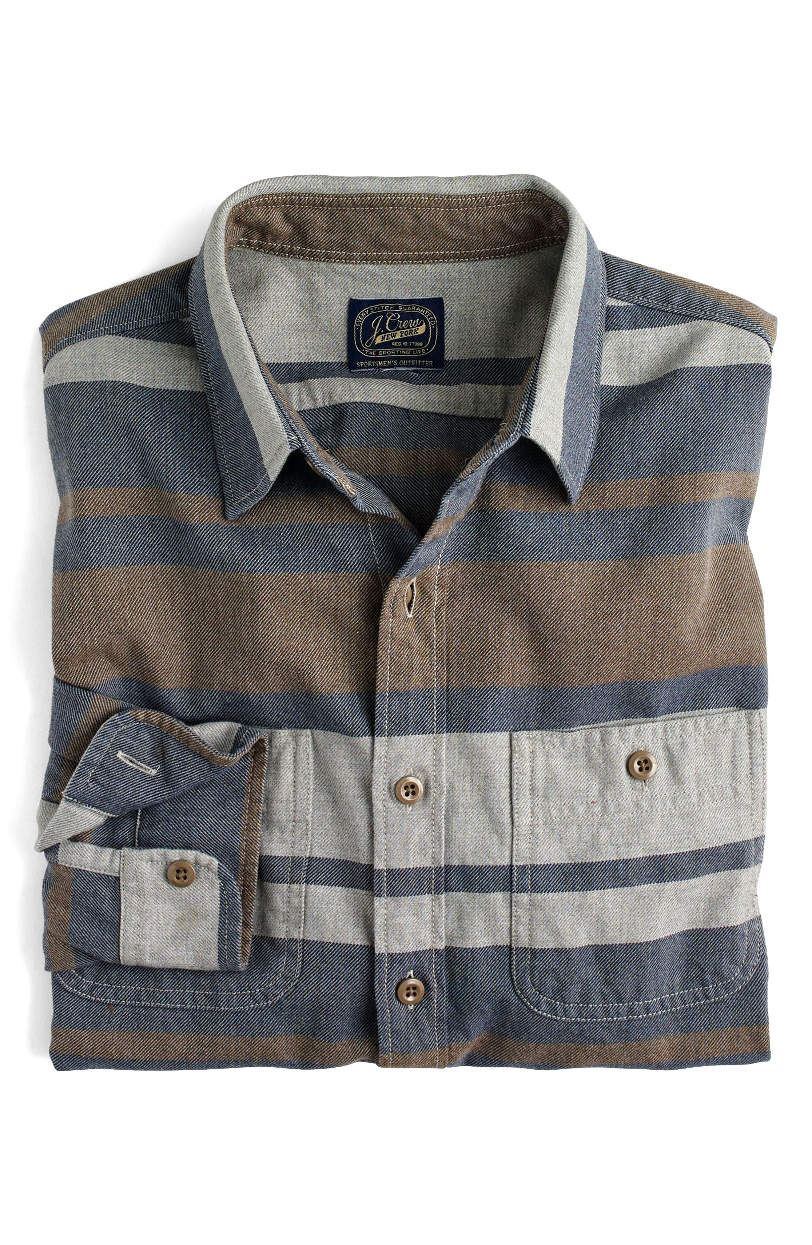 Classic Fit Deck Stripe Work Shirt,                             Alternate thumbnail 3, color,                             400