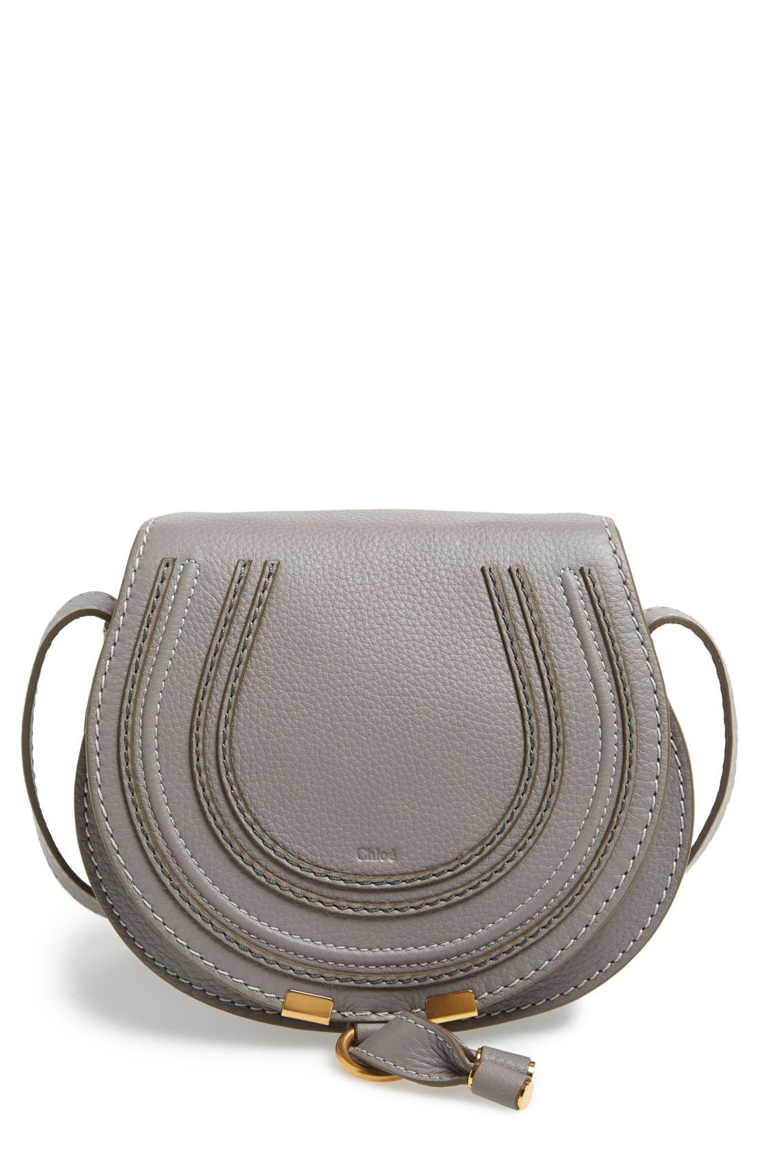 'Mini Marcie' Leather Crossbody Bag,                             Main thumbnail 1, color,                             CASHMERE GREY