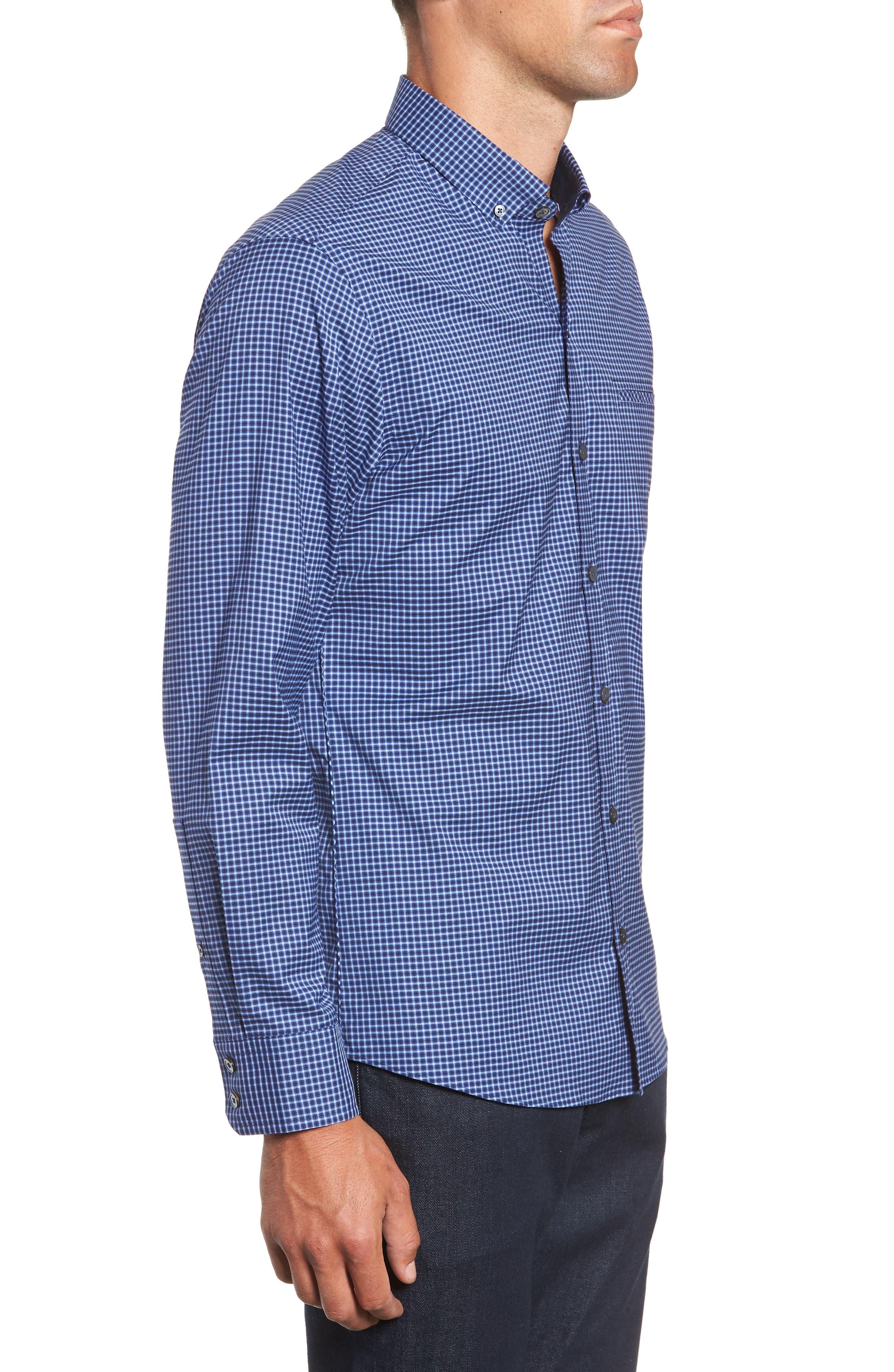 Matusiak Regular Fit Check Sport Shirt,                             Alternate thumbnail 4, color,                             MIDNIGHT