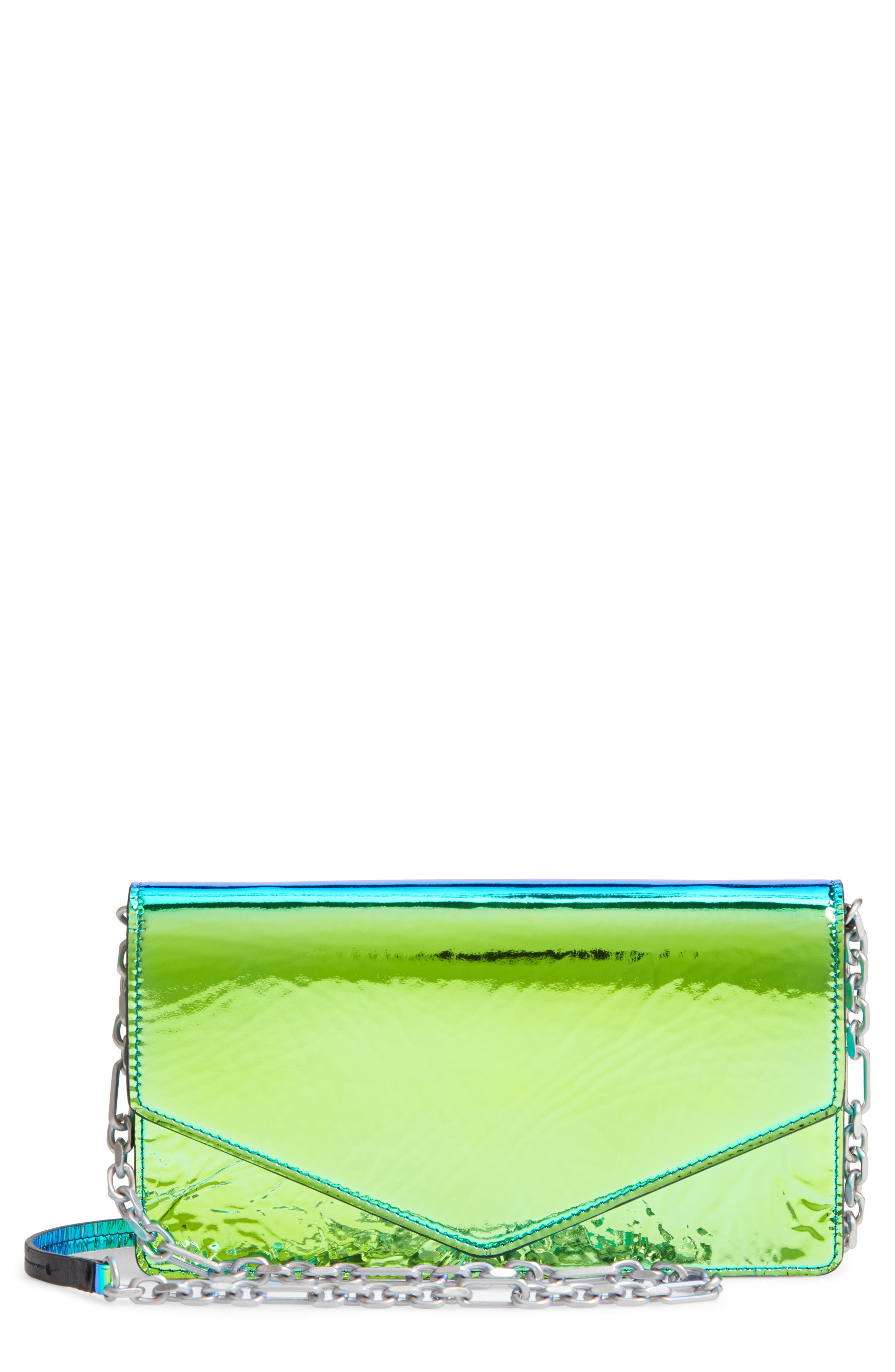 Iridescent Faux Leather Wallet on a Chain,                             Main thumbnail 1, color,                             IRRIDISCENT BLUE/ GREEN