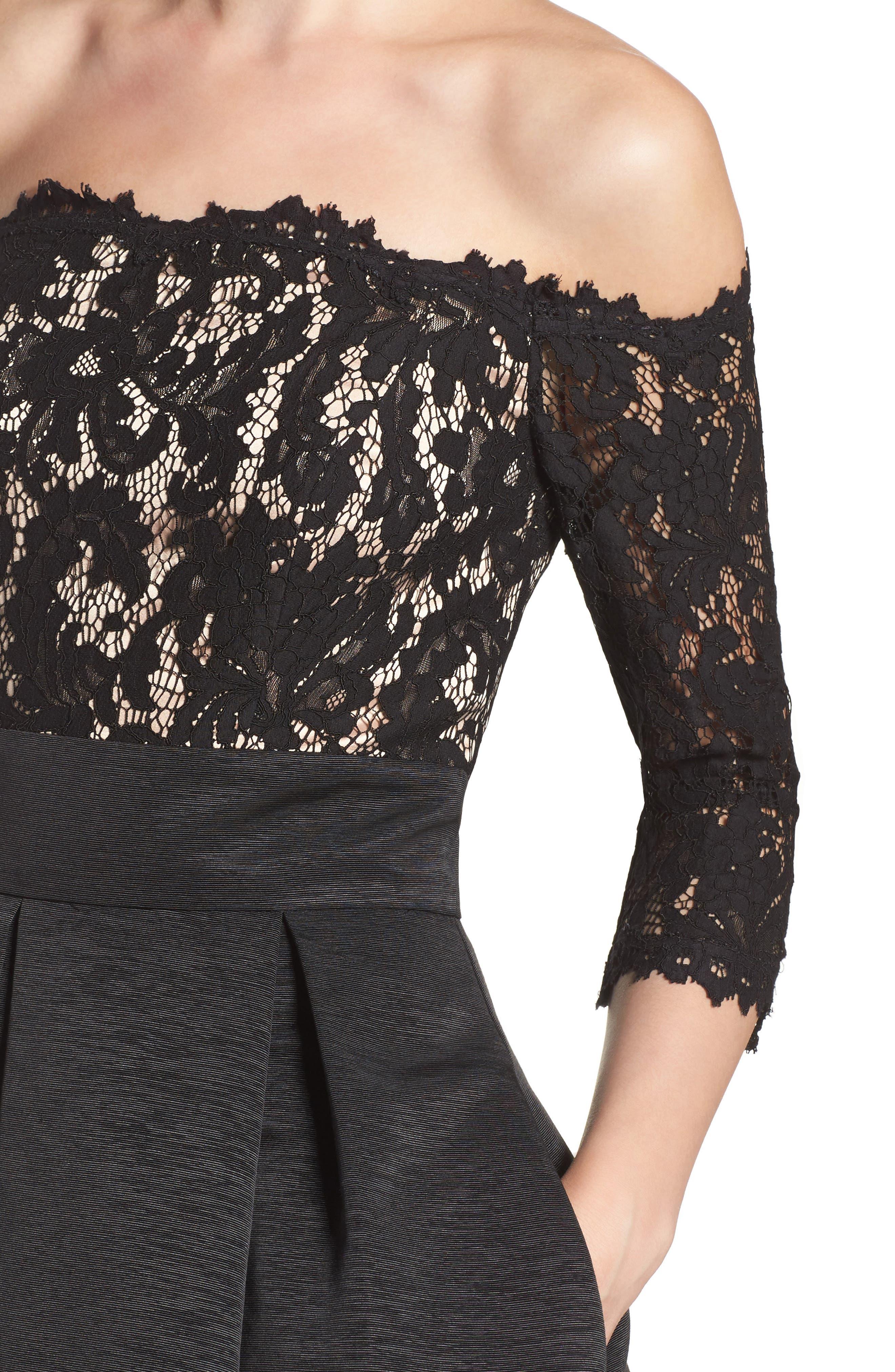 Off the Shoulder A-Line Dress,                             Alternate thumbnail 6, color,                             BLACK