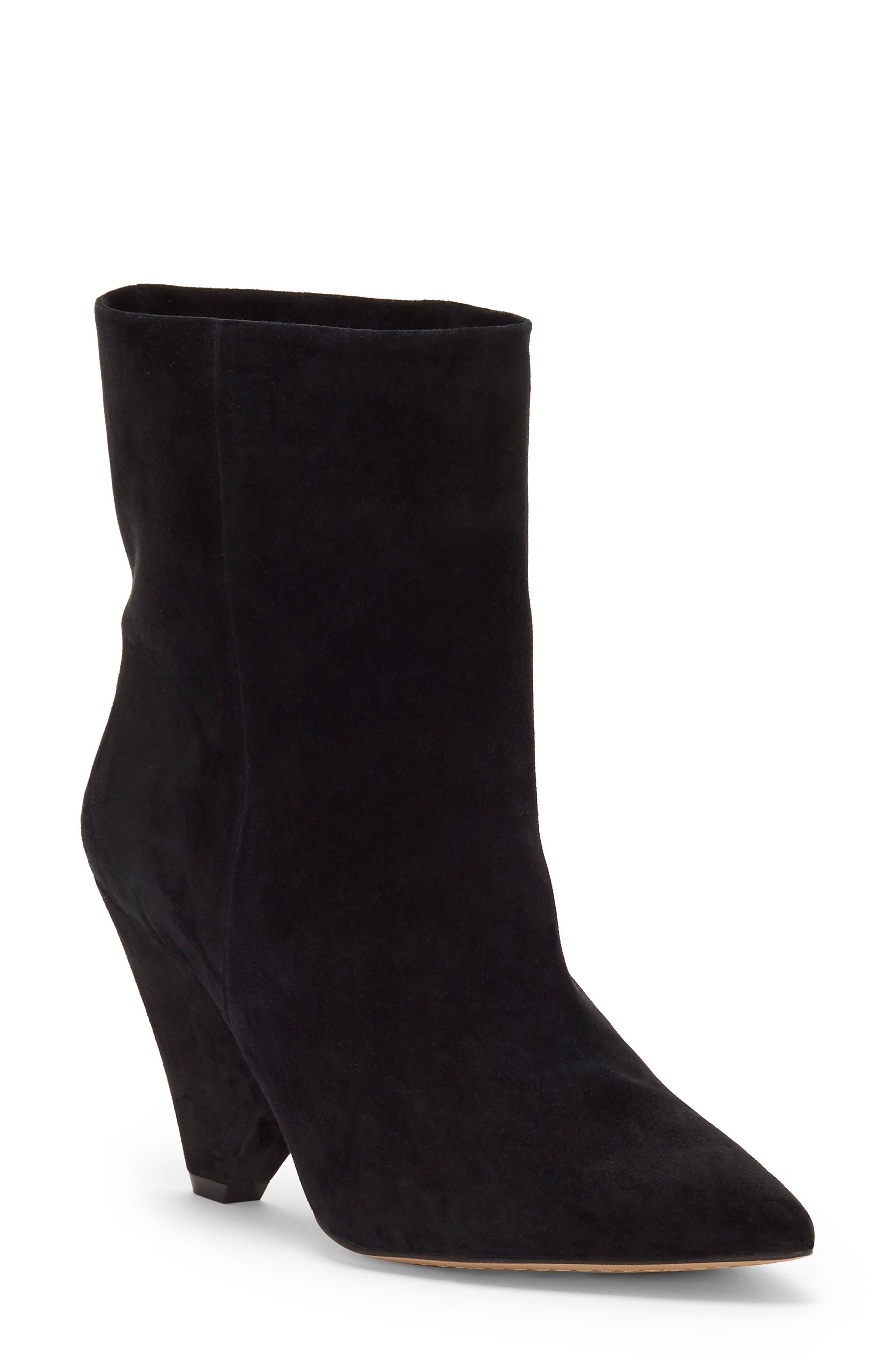 Regina Cone Heel Bootie,                         Main,                         color, BLACK SUEDE
