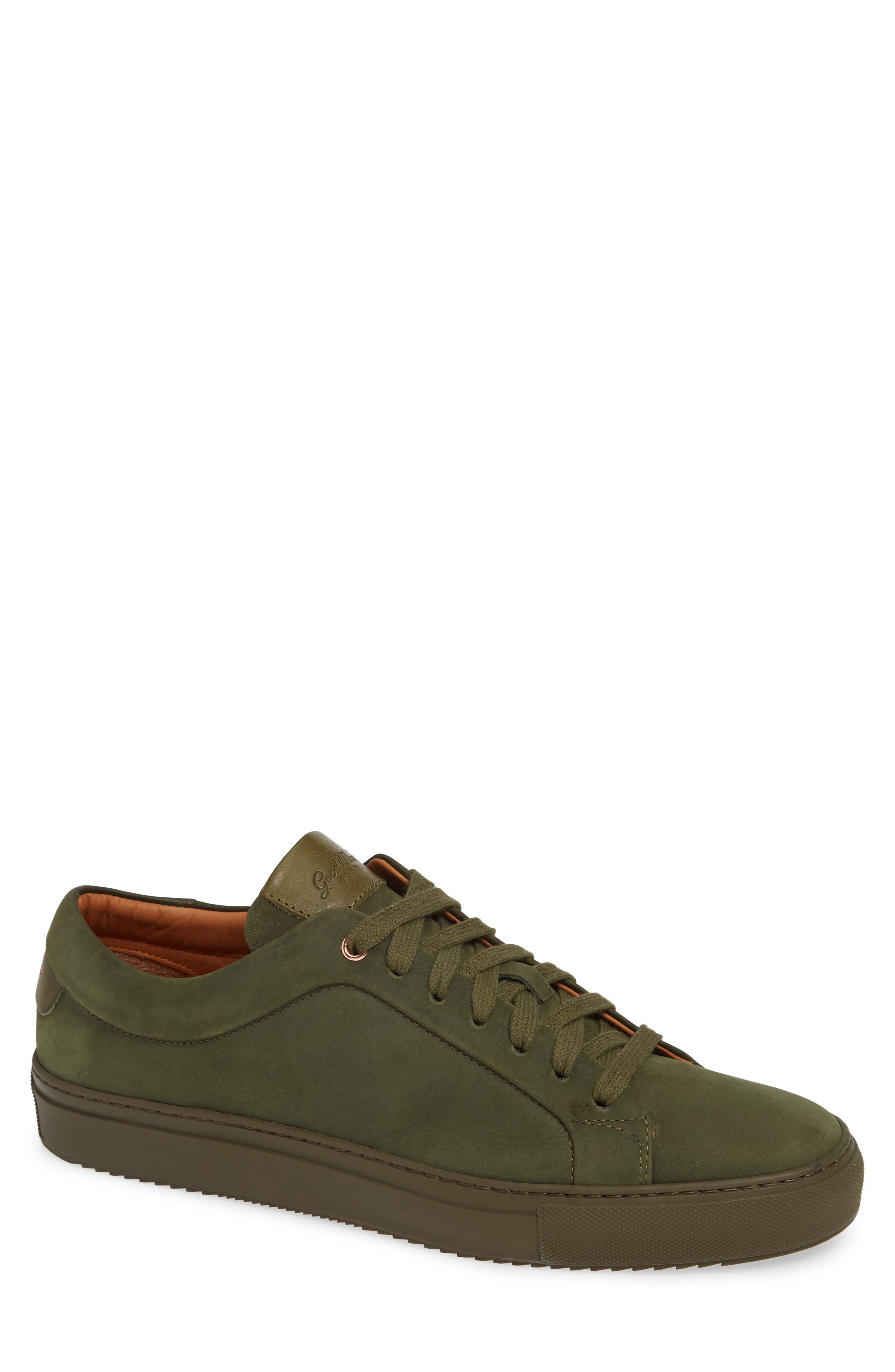 Sure Shot Lo Sneaker,                             Main thumbnail 1, color,                             MILITARY GREEN LEATHER