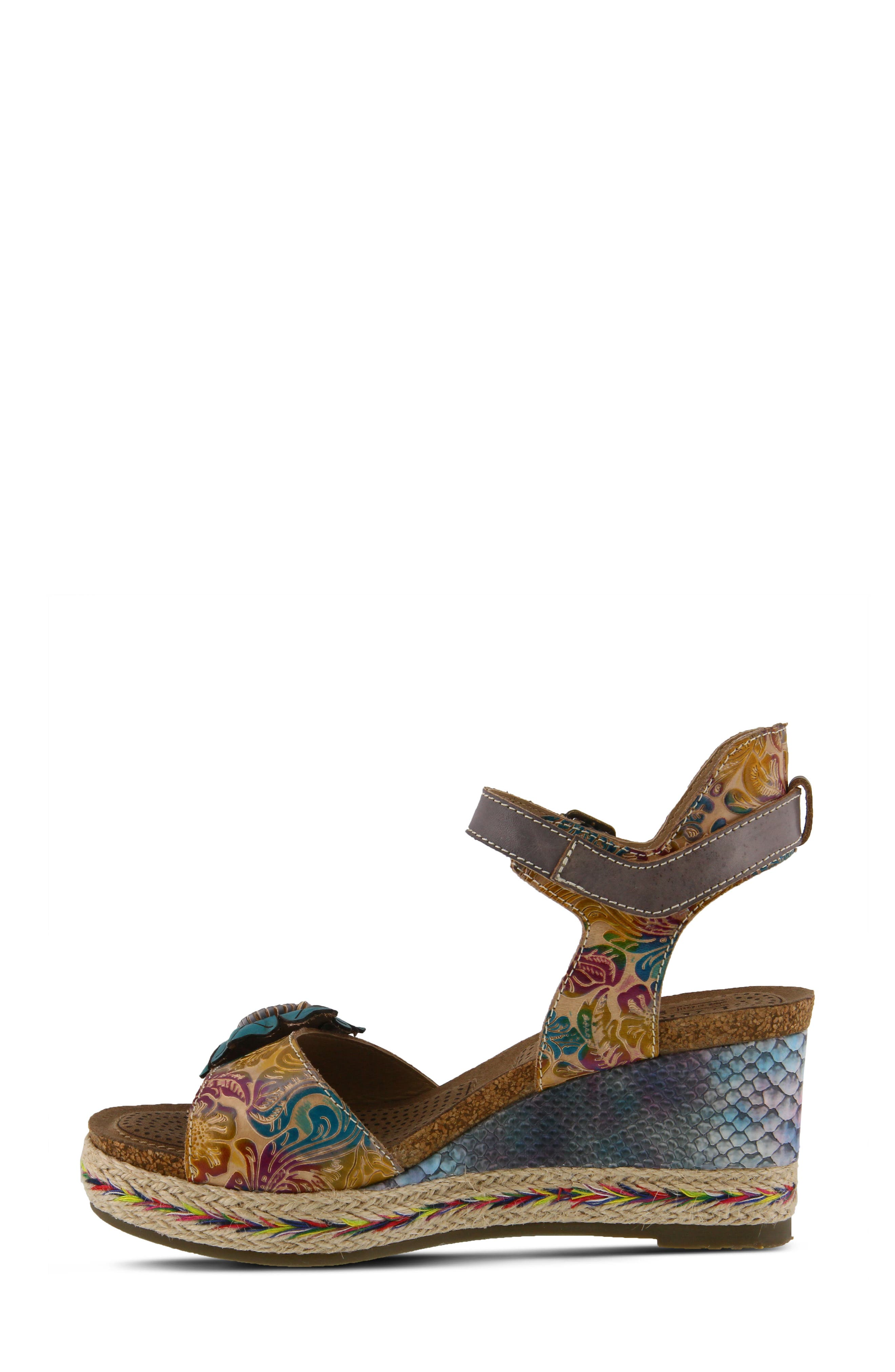 L'ARTISTE,                             Annmarie Wedge Sandal,                             Alternate thumbnail 7, color,                             GREY MULTI LEATHER