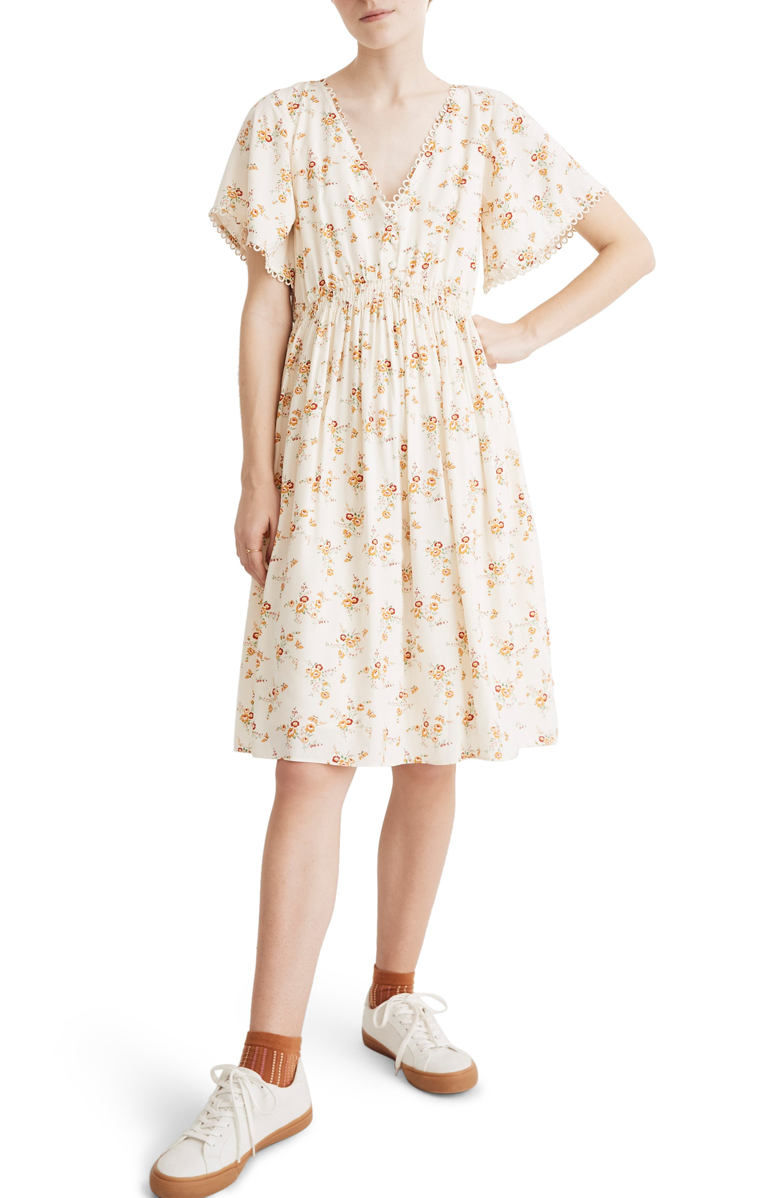 Madewell Floral Loop Trim Minidress, Ivory