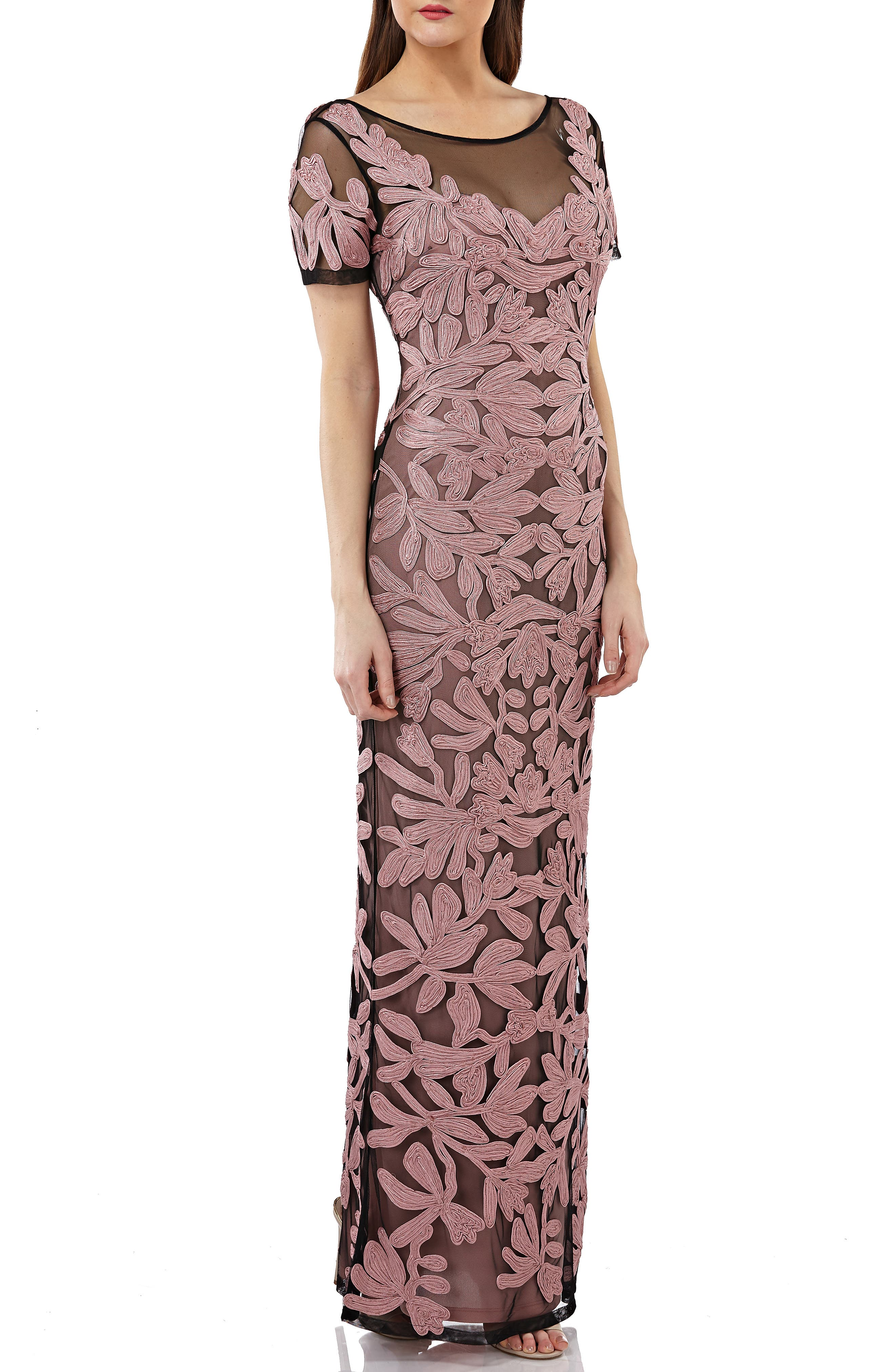 Js Collections Illusion Yoke Short Sleeve Soutache Gown, Pink