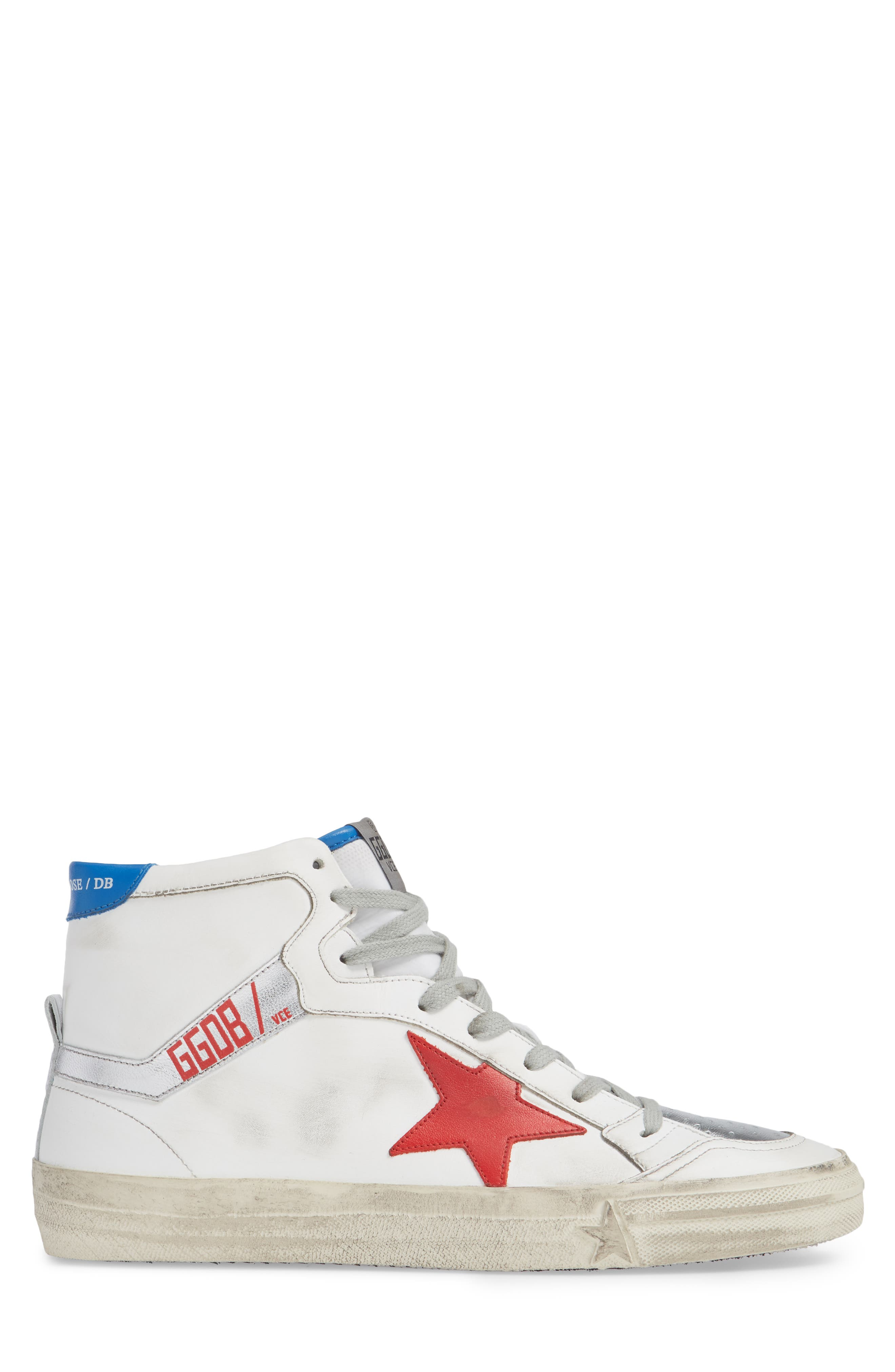 2.12 Star High Top Sneaker,                             Alternate thumbnail 3, color,                             WHITE LEATHER- RED STAR