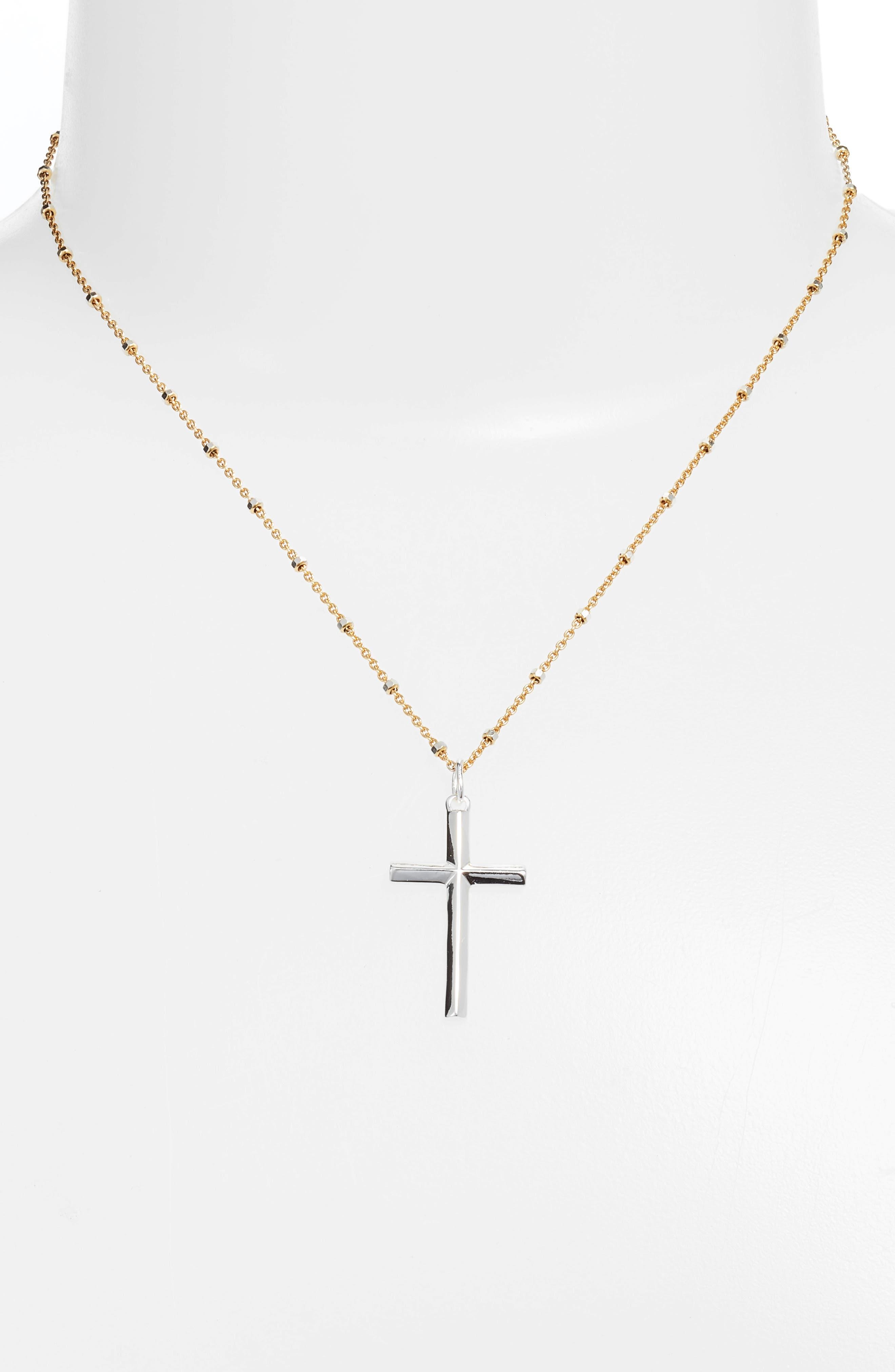 Two-Tone Cross Pendant Necklace,                             Alternate thumbnail 2, color,                             040