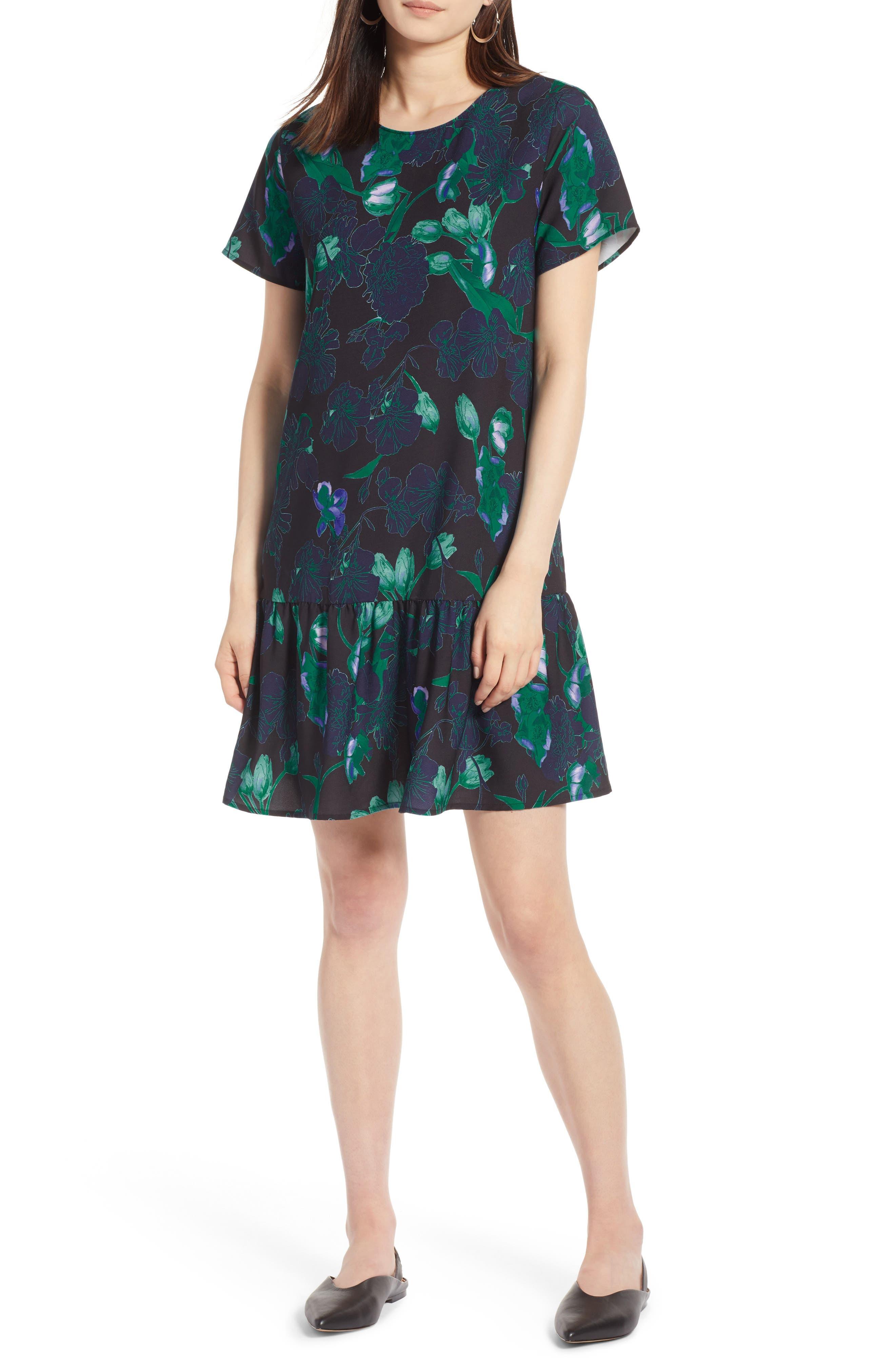 Short Sleeve Ruffle Hem Dress,                             Main thumbnail 2, color,