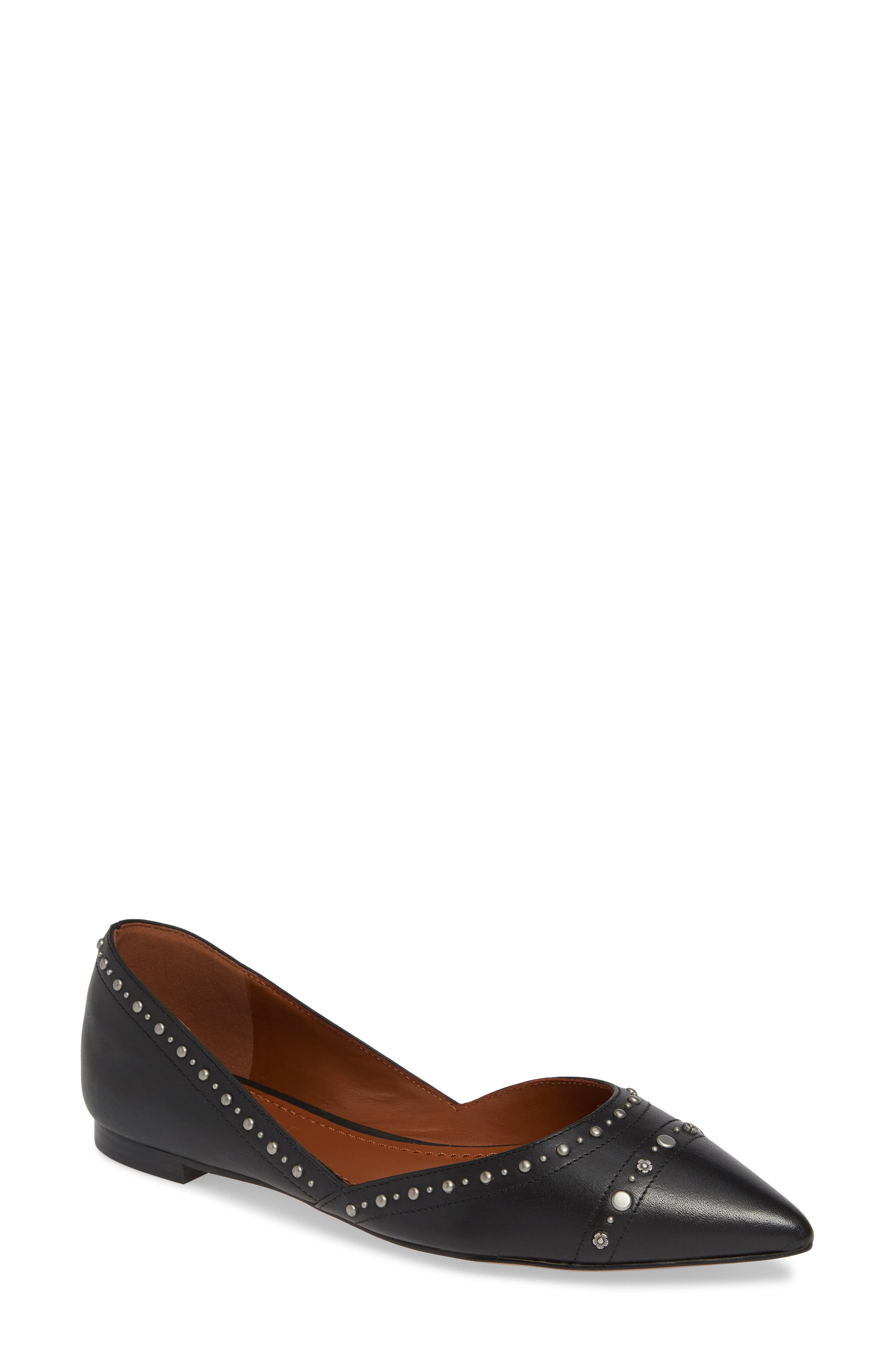 Valintina Pointed Toe Flat, Main, color, BLACK LEATHER