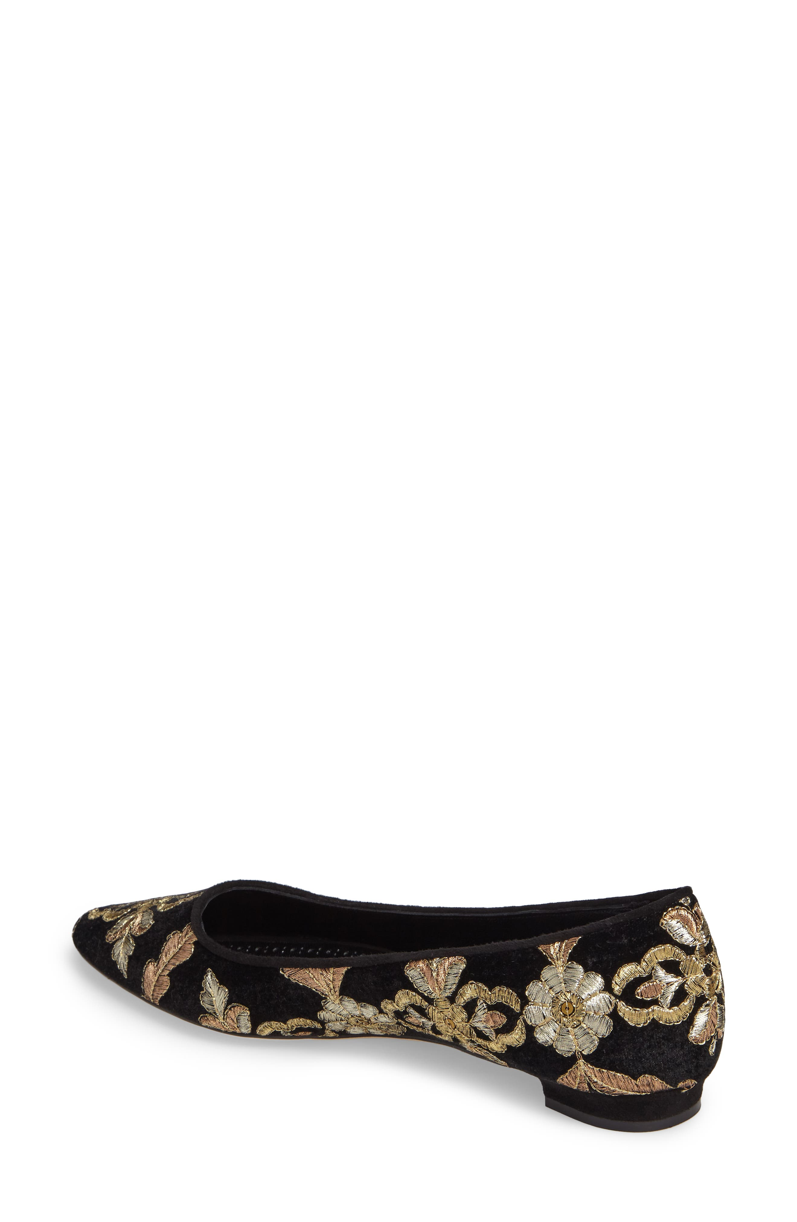 Tittermo Floral Embroidered Ballet Flat,                             Alternate thumbnail 2, color,                             001